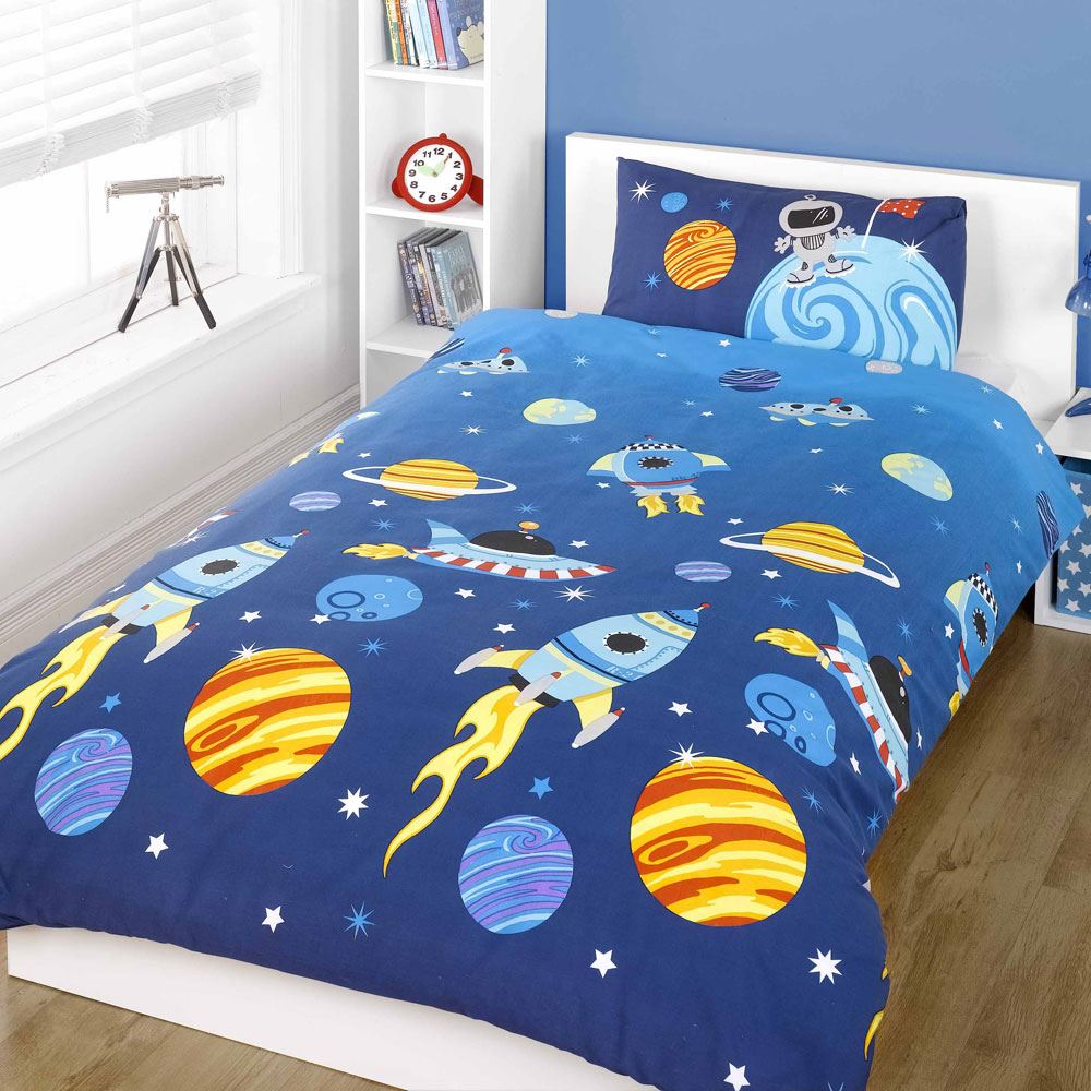 Rocket Single Duvet Quilt Cover Bedding SET – Space Solar ...
