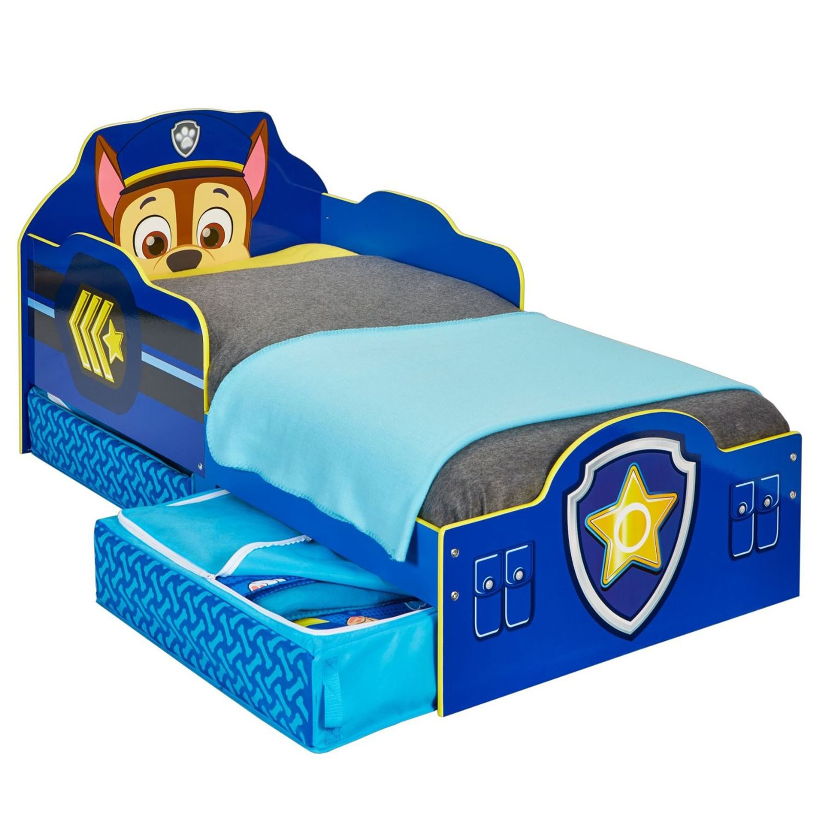 official paw patrol chase toddler bed with storage mdf new. Black Bedroom Furniture Sets. Home Design Ideas
