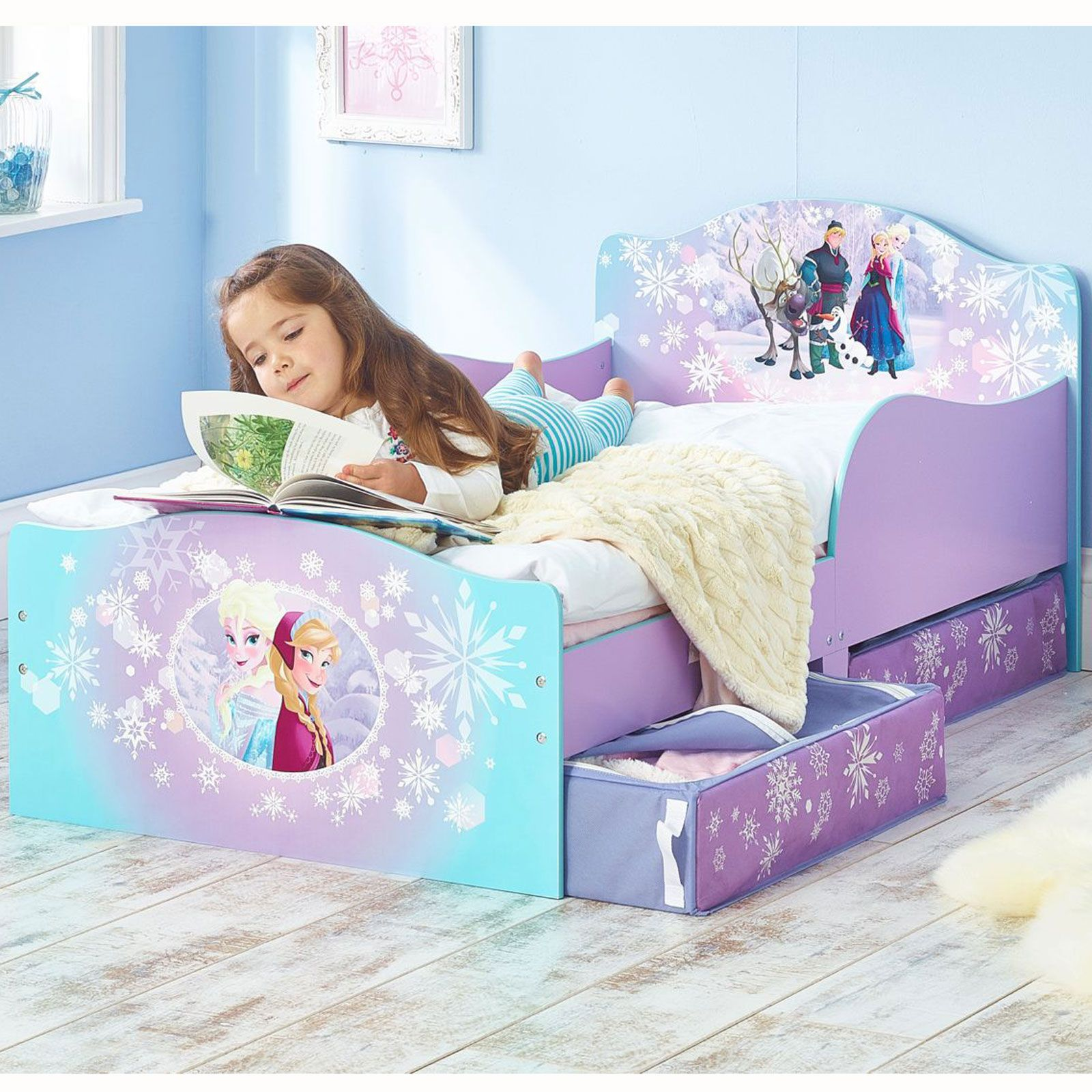 disney frozen mdf kleinkind bett mit unterbett aufbewahrungs neu m dchen ebay. Black Bedroom Furniture Sets. Home Design Ideas