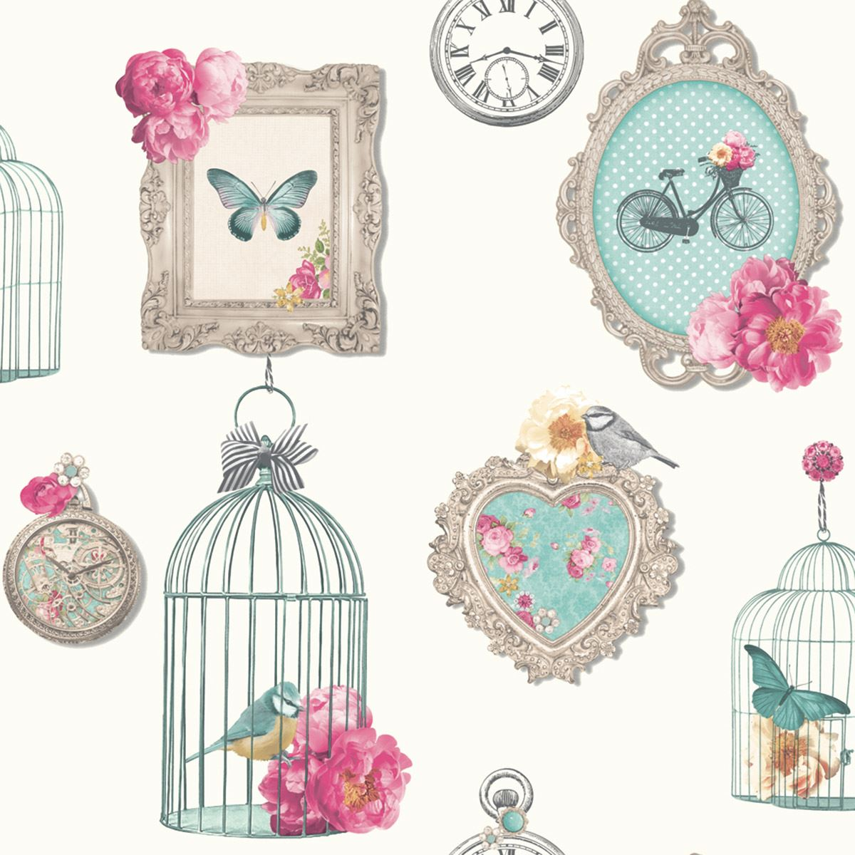 Wall Sticker Quotes Uk Arthouse Madeline Frames Shabby Chic Wallpaper Bird Cage