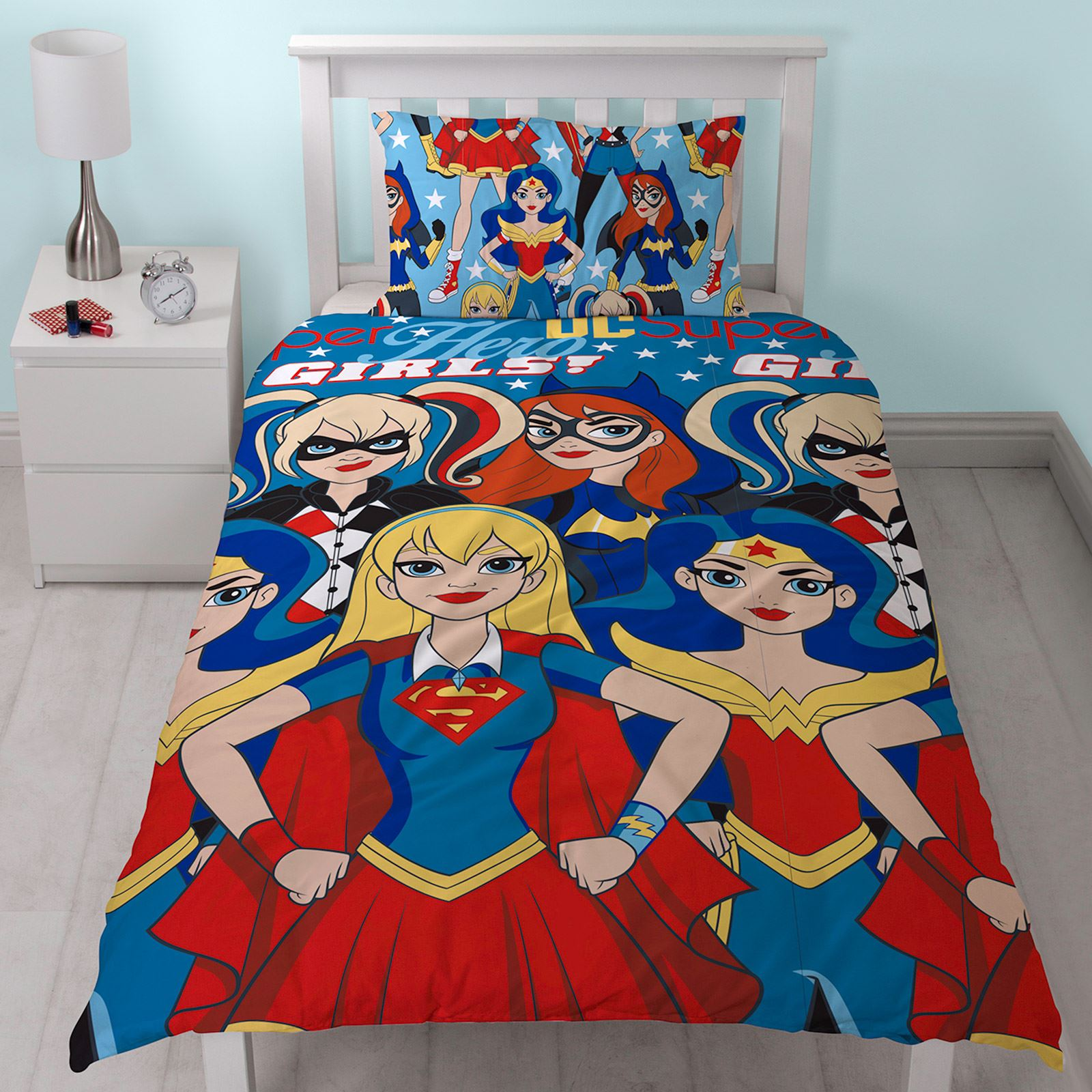 Dc super hero girls duvet cover set wonder woman harley for Harley quinn bedroom designs