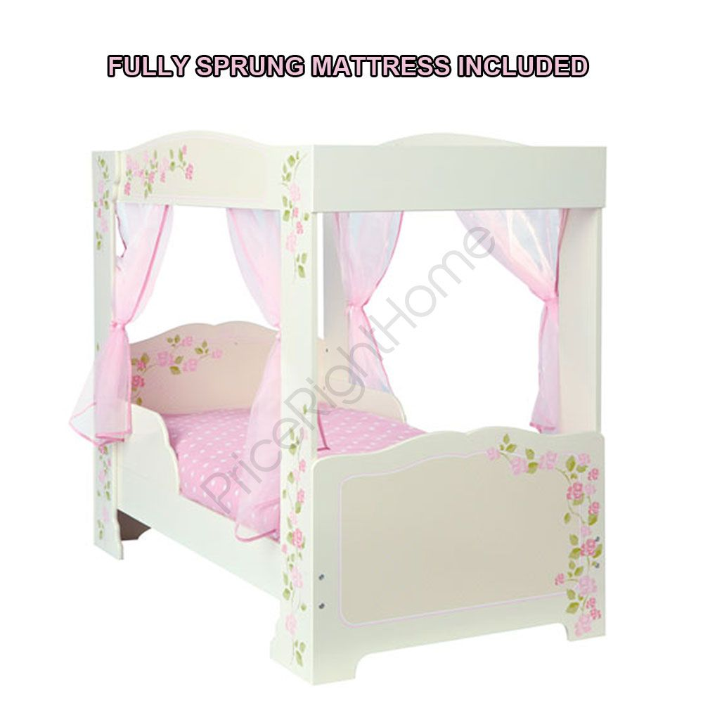 Girls Rose 4 Poster Toddler Bed 4 Pink Voile Curtains