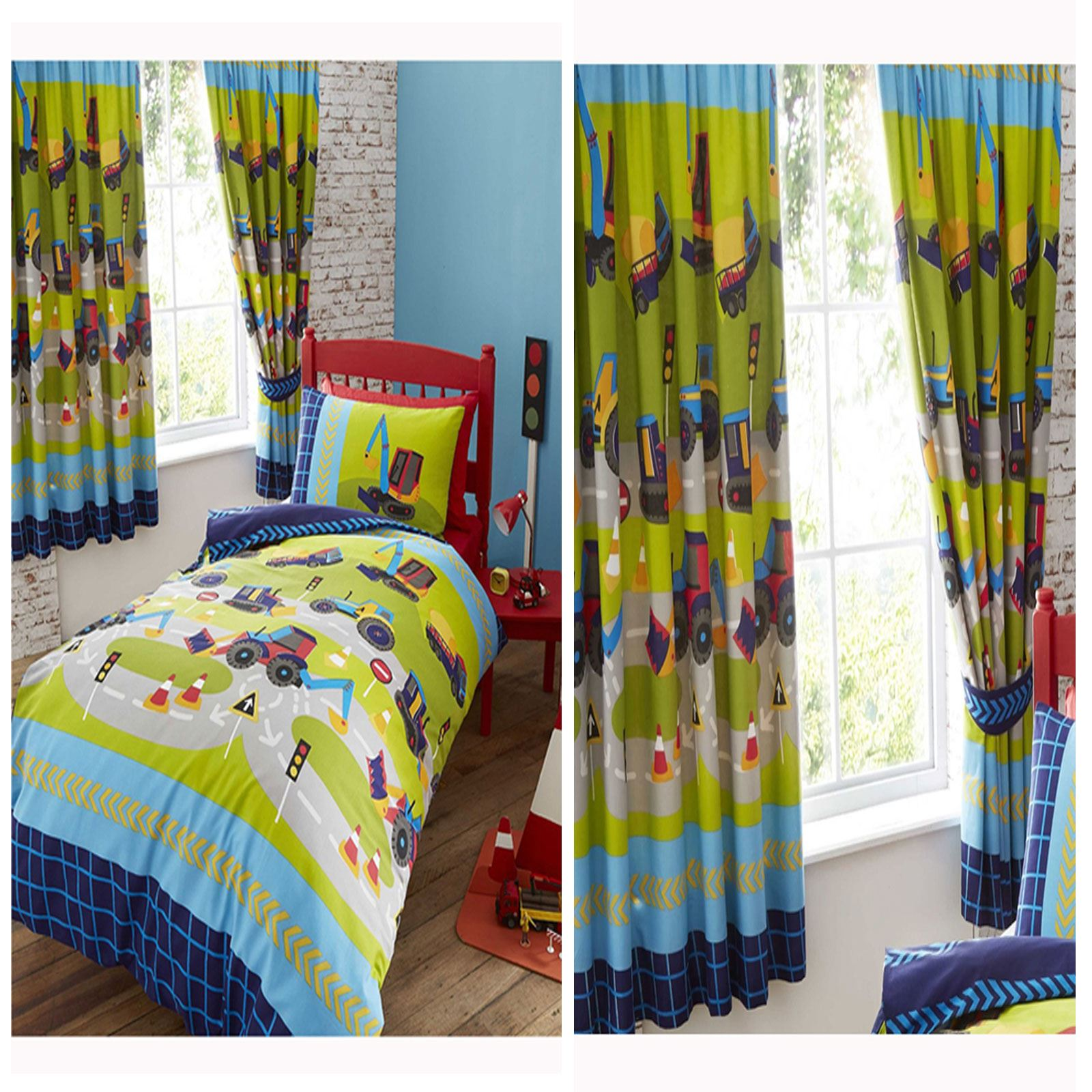 Diggers Duvet Cover Set In Single Matching Lined Curtains Kids Bedroom Range Ebay