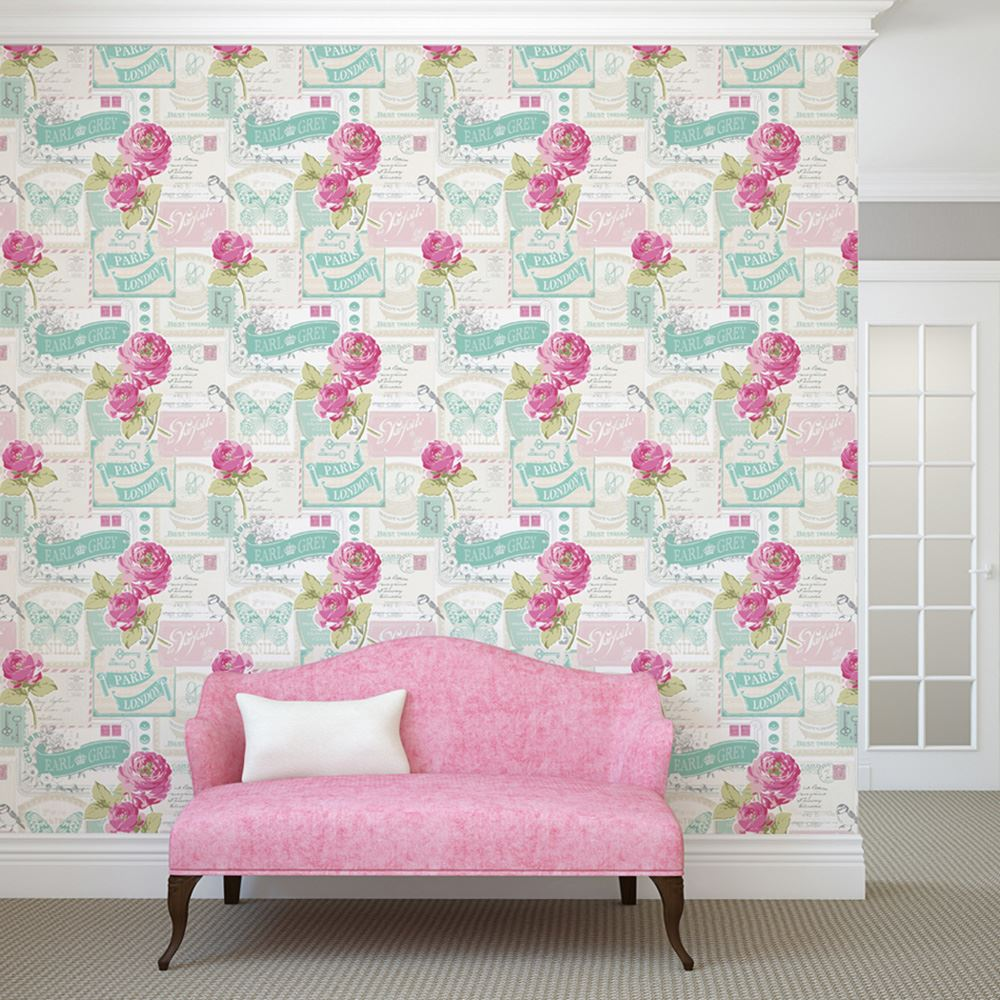 shabby chic floral wallpaper in various designs wall decor new. Black Bedroom Furniture Sets. Home Design Ideas