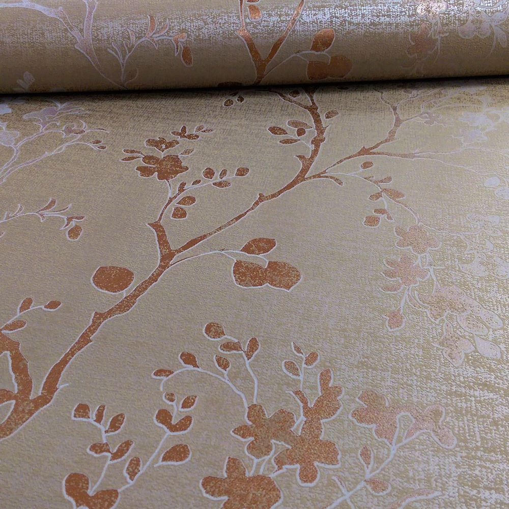 Precious Metals Orabella Wallpaper Copper Feature Wall