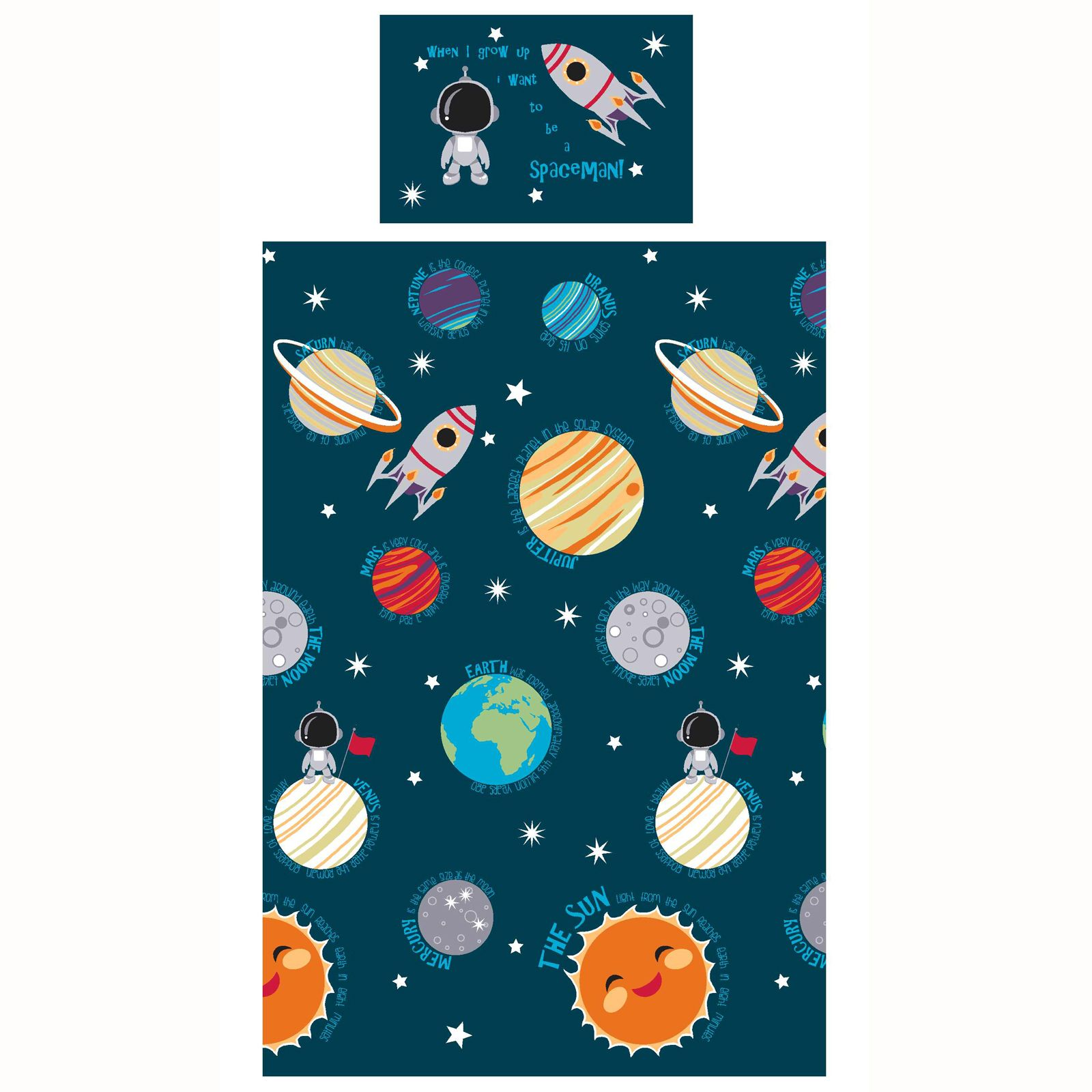 Solar System Single Duvet Cover Set New Boys Spaceman