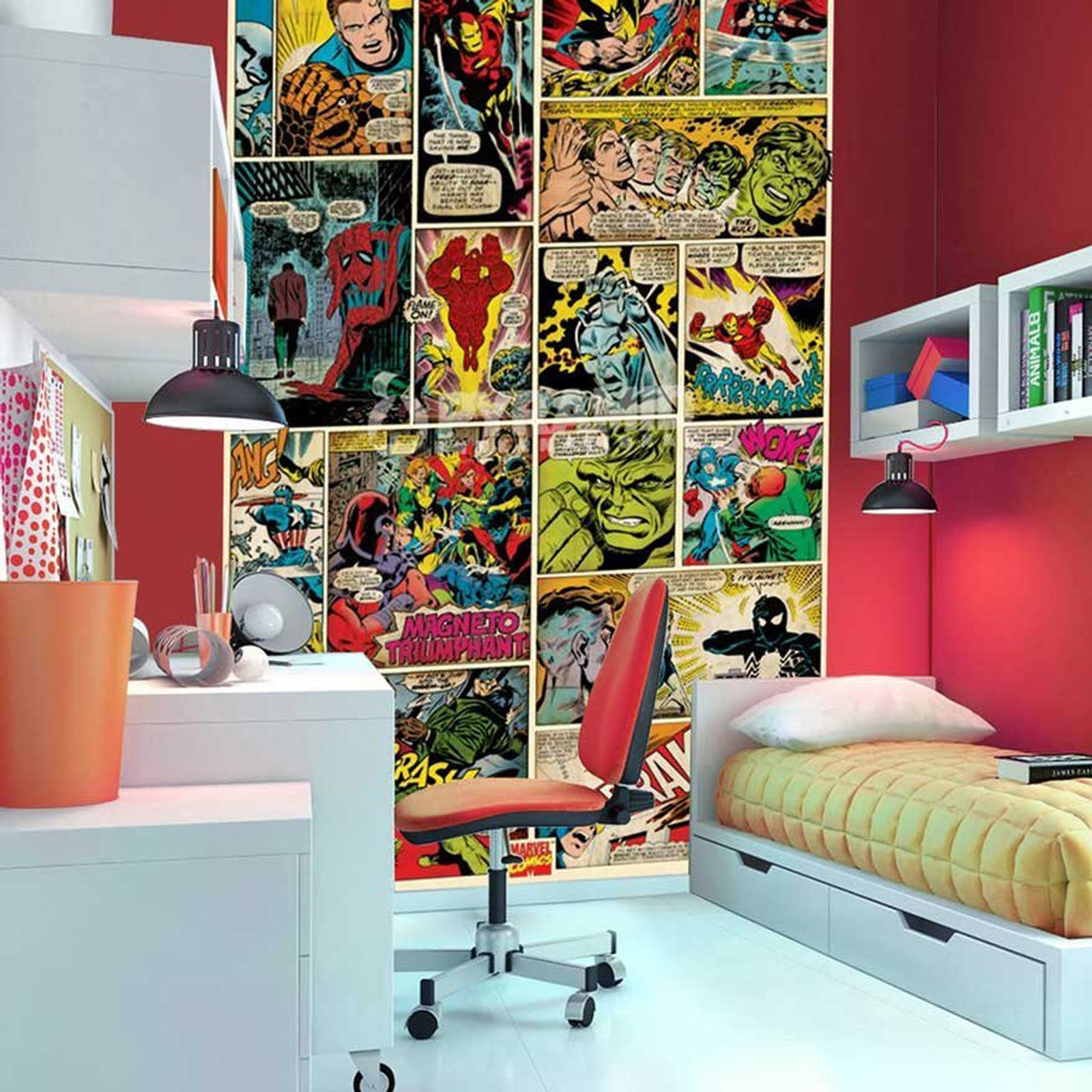 Small Bedroom Furniture Layout Bedroom Posters Vintage Bedroom Curtain Ideas Bedroom Interior Design For Kids: MARVEL COMICS AND AVENGERS WALLPAPER WALL MURALS DÉCOR