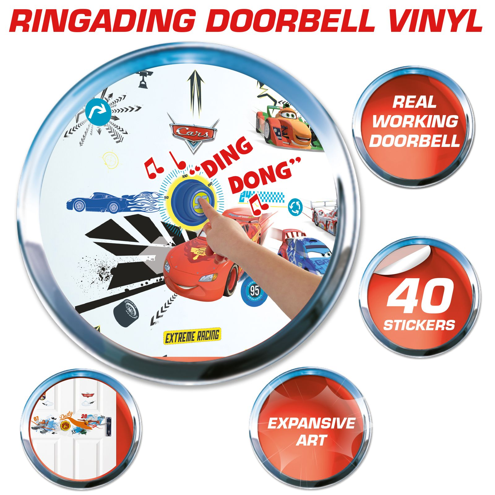 Details About DISNEY CARS DOORBELL AND 40 WALL STICKERS NEW