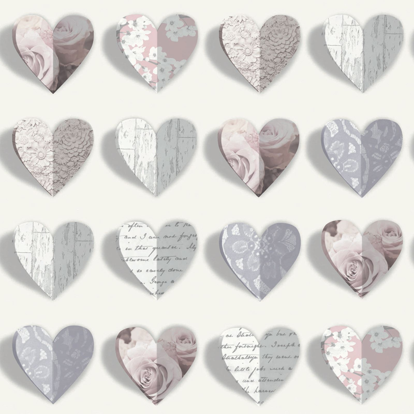 Details about OLIVIA HEARTS WALLPAPER - BLUSH - ARTHOUSE 669701 - PINK ...