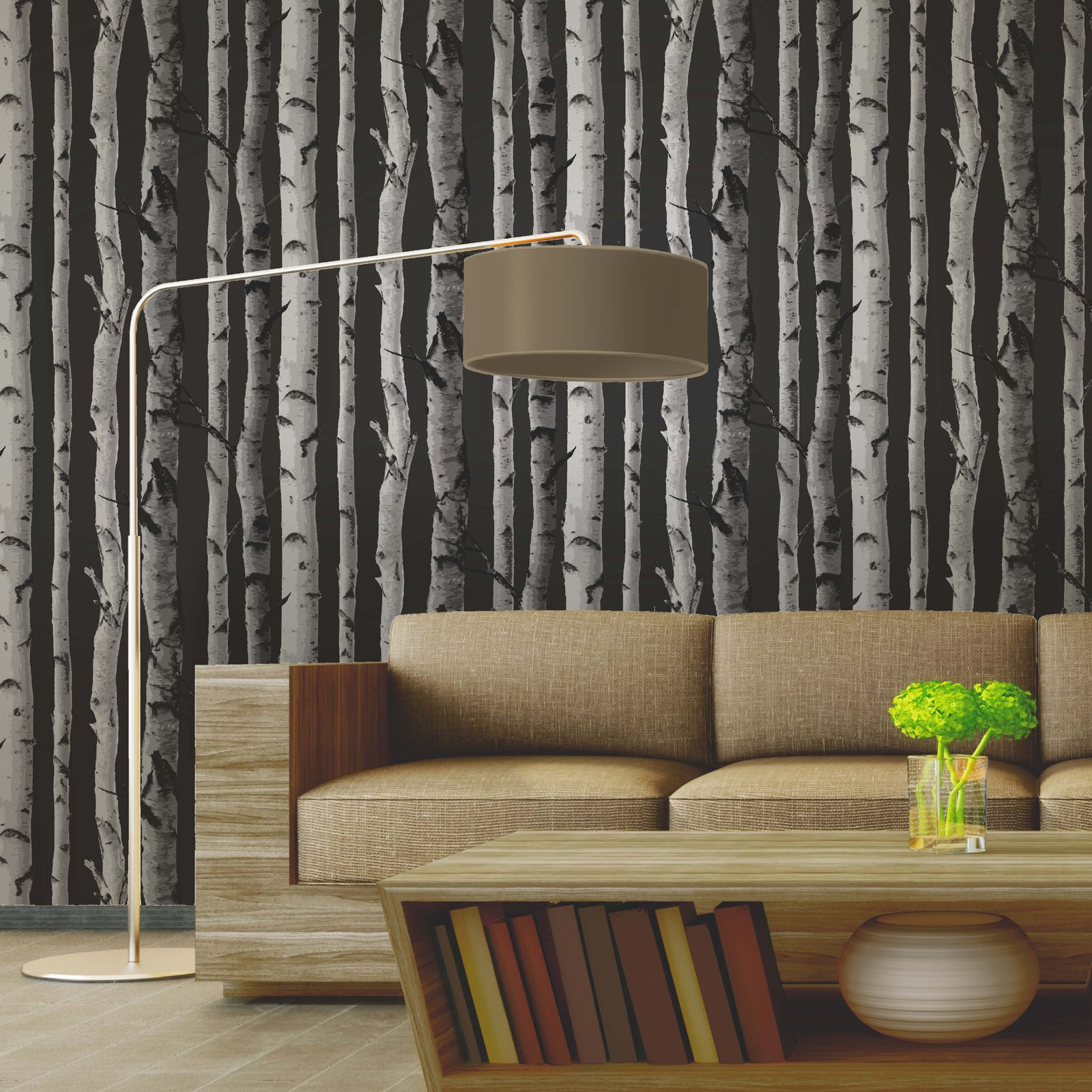 fine decor bouleau arbres papier peint 10m noir argent ebay. Black Bedroom Furniture Sets. Home Design Ideas