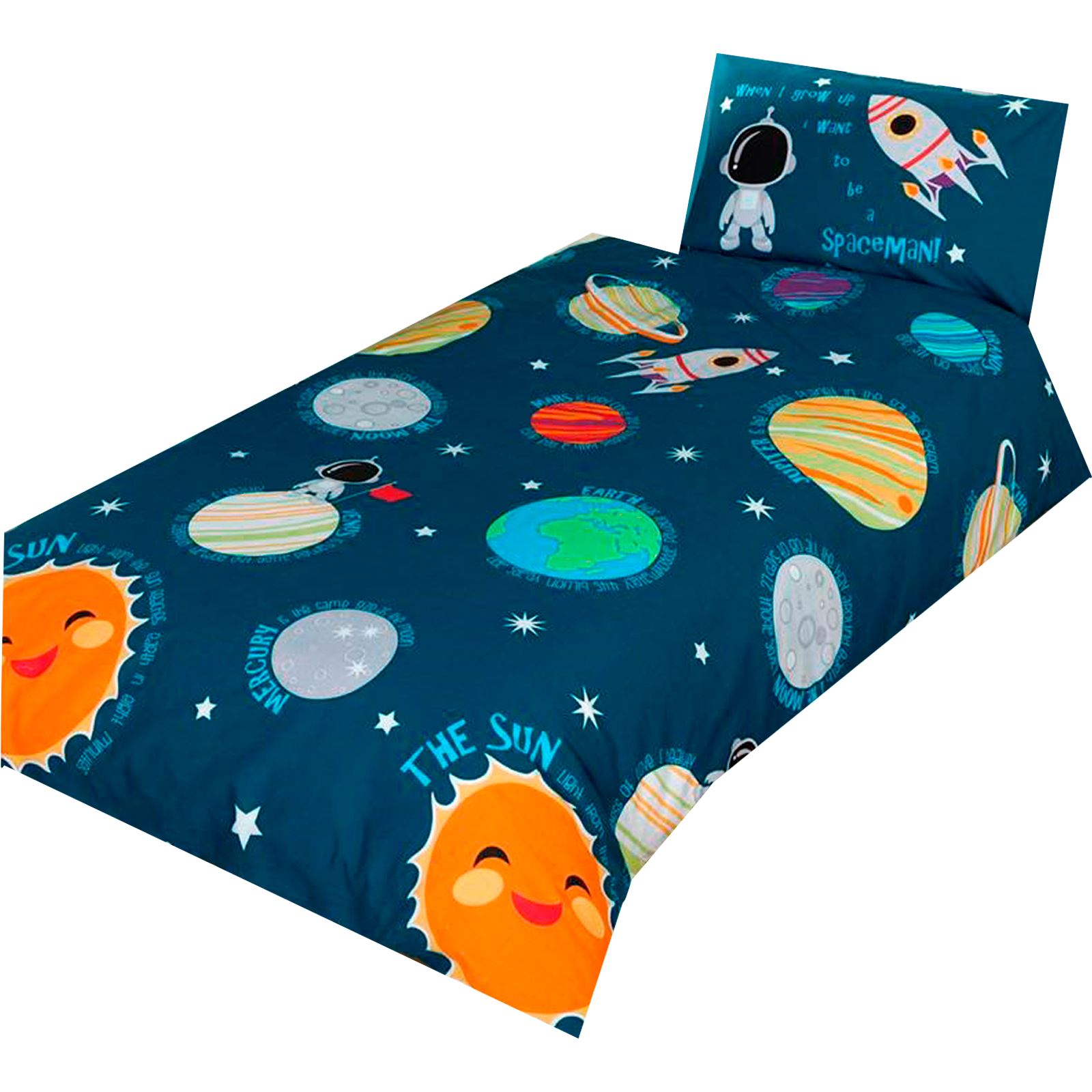 SOLAR SYSTEM SPACE BEDDING - SINGLE DOUBLE JUNIOR DUVET ...