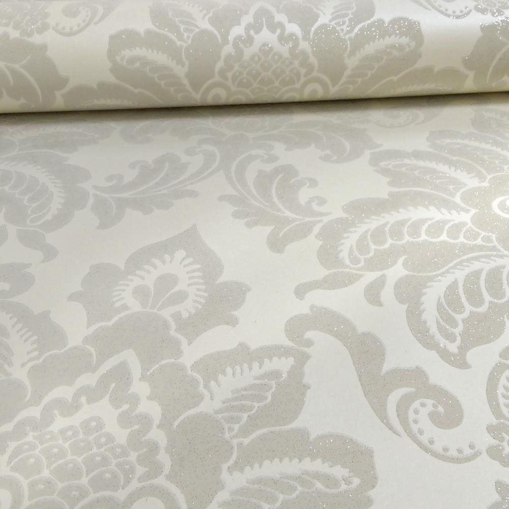 Arthouse precious metals glisten damask wallpaper gunmetal for Arthouse jardin wallpaper