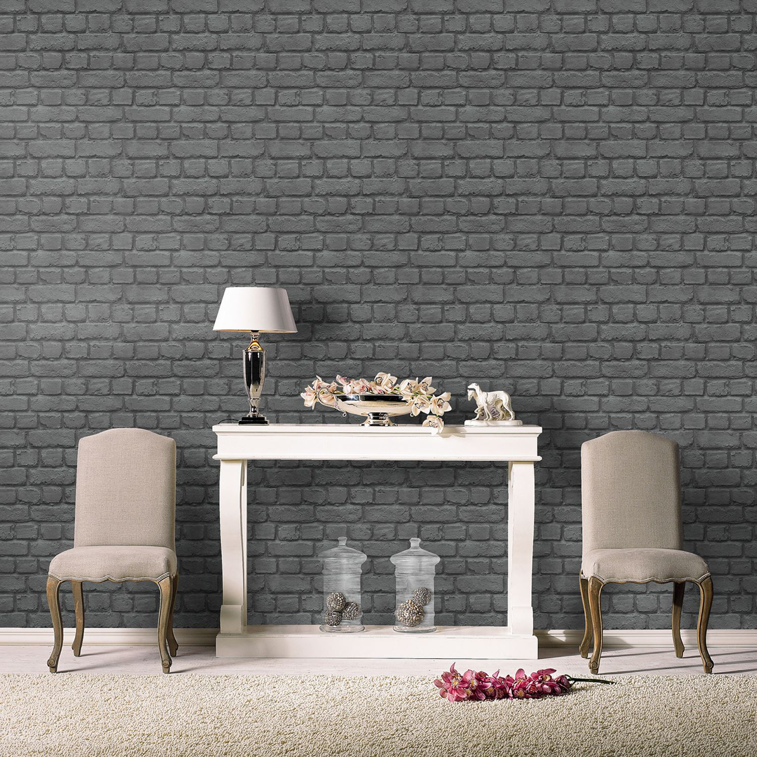 Schwarze Backstein Tapete : Charcoal Gray Red Brick Wall Background