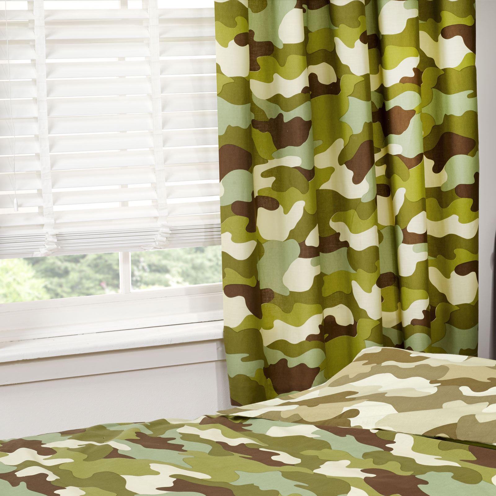 arm e camouflage simple double couettes rideaux en deux goutte longueurs ebay. Black Bedroom Furniture Sets. Home Design Ideas