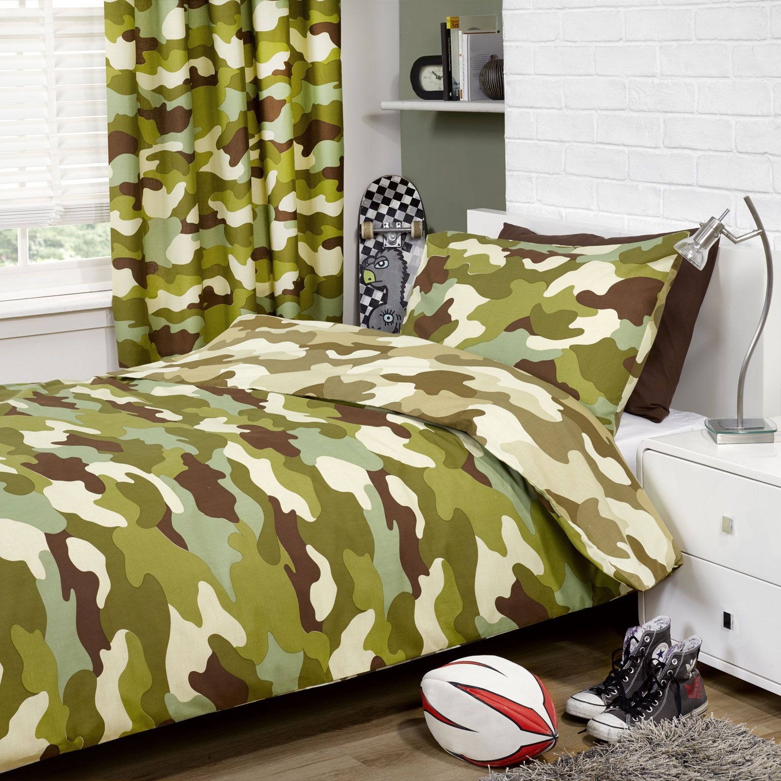 camouflage 66 x 72 lined curtains new army military boys
