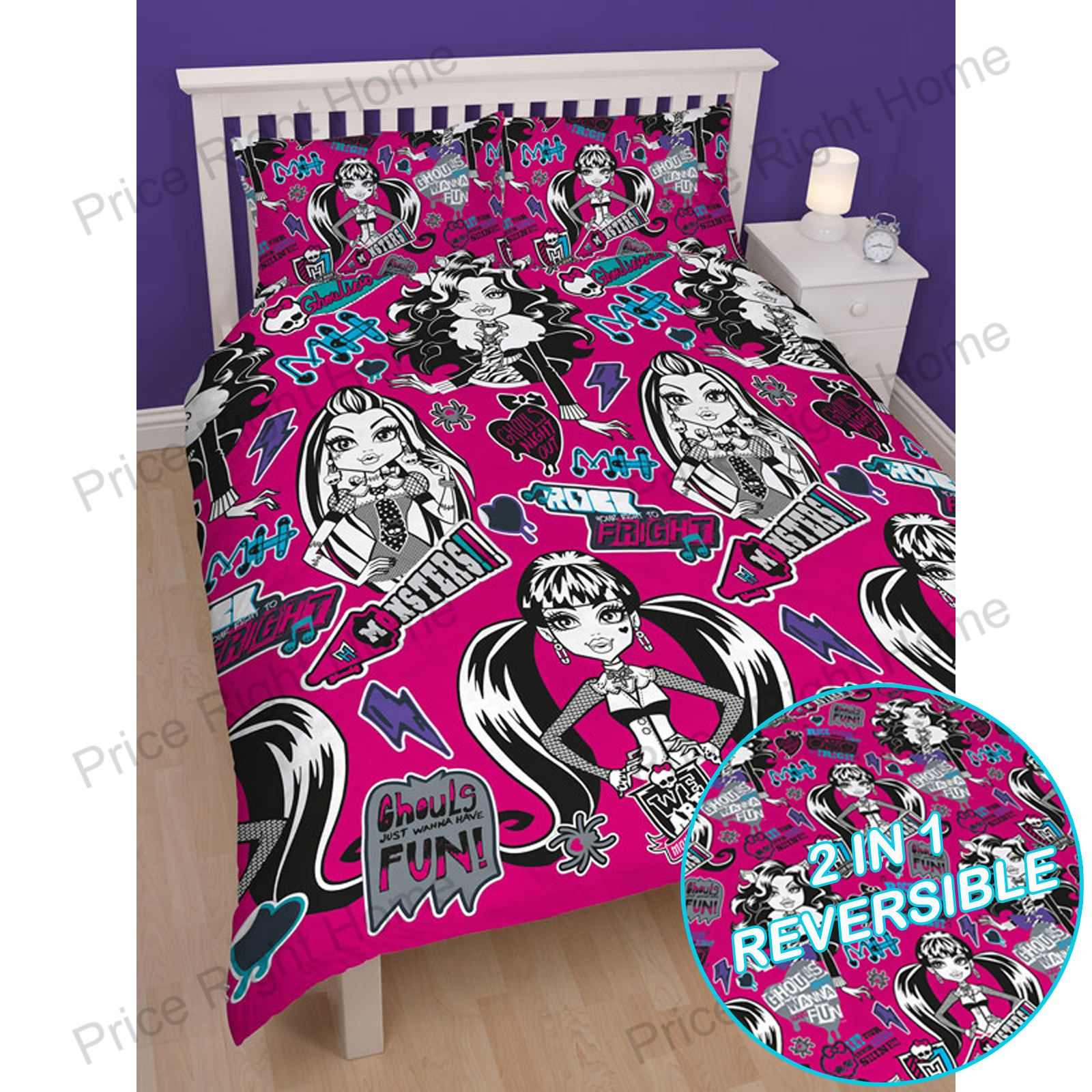 Monster high peur double housse couette r versible literie - Housse de couette monster high 220x240 ...
