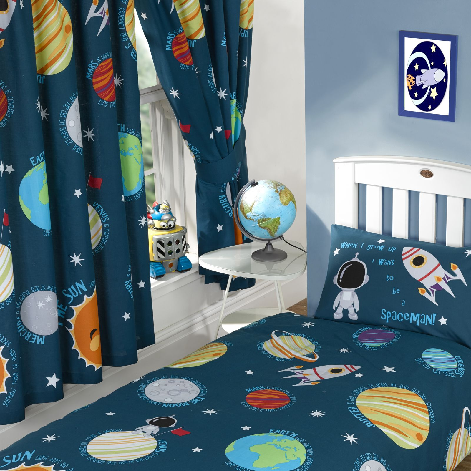Cortina con cinta sujetar astronauta sistema solar - Estrellas decoracion infantil ...