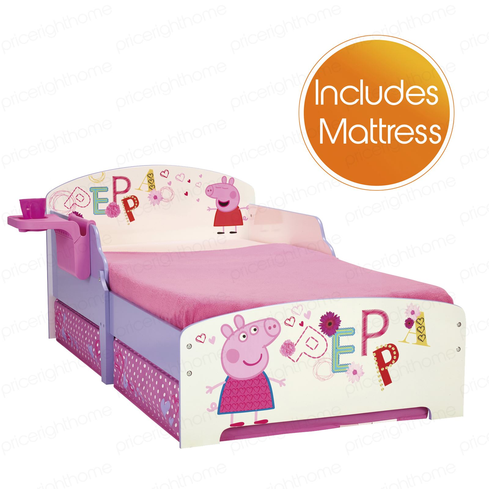 peppa pig mdf kleinkind bett mit regal aufbewahrung luxus matratzen neu ebay. Black Bedroom Furniture Sets. Home Design Ideas