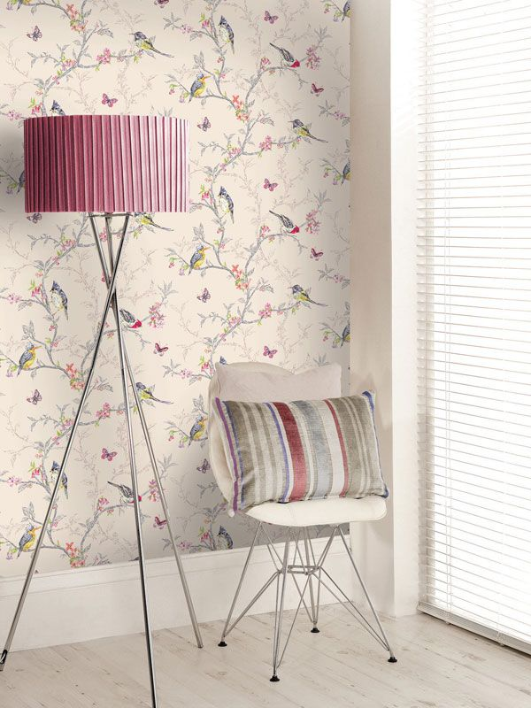 Holden decor phoebe birds wallpaper in soft teal dove for Where can i purchase wallpaper