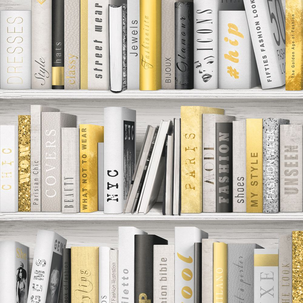 Fashion library bookcase wallpaper pink gold silver for Book wallpaper for walls
