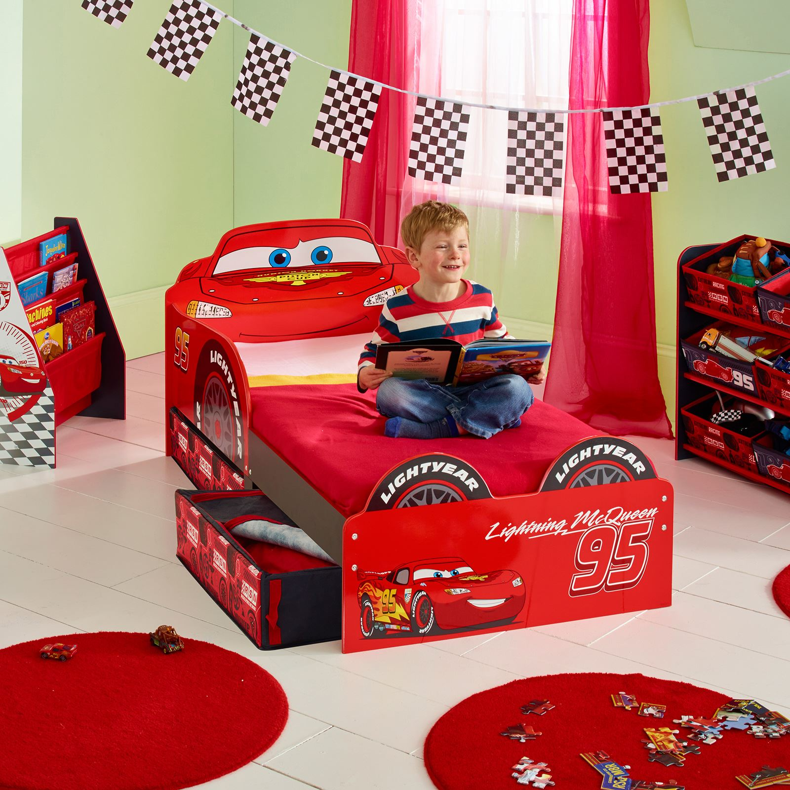 disney cars lightning mcqueen mdf toddler bed with storage tatty