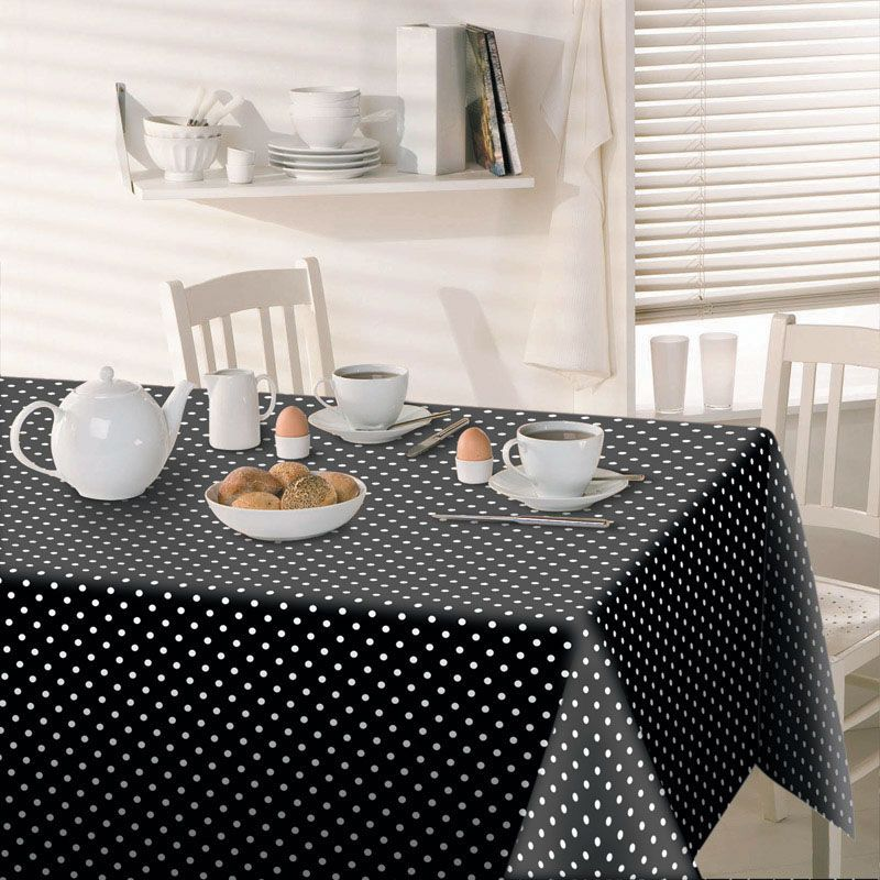 Polka dot black and white kitchen dining table cloth free for Black polka dot tablecloth