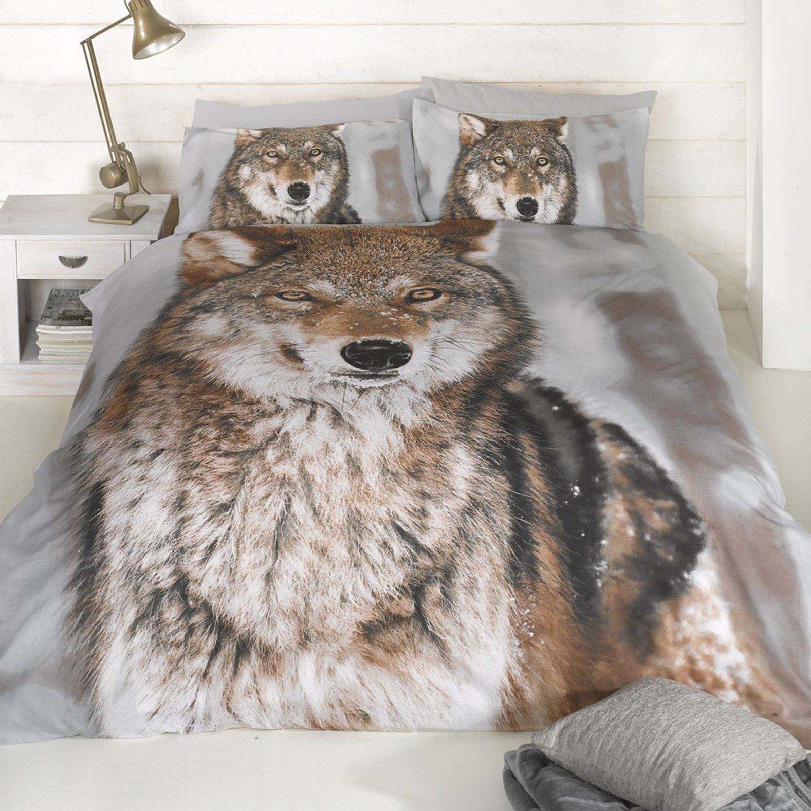 Loup design imprim grande taille housse de couette king for Taille housse de couette pour lit 160