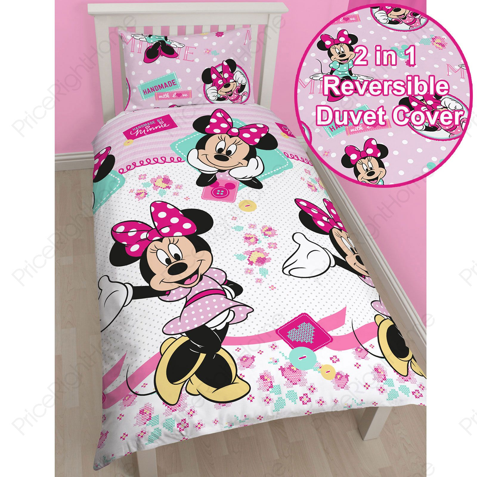 MINNIE MOUSE BEDROOM RANGE SINGLE DOUBLE DUVET COVER & CURTAINS