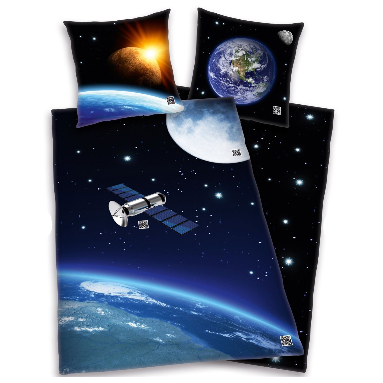 Solar System Bedroom : ... OUTER SPACE SATELLITE DUVET COVER NEW SOLAR SYSTEM BEDDING 100% COTTON