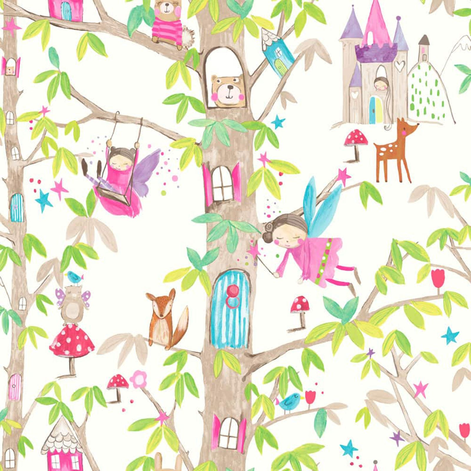 Fairy Princess Wall Stickers Fairy Dust Glitter Amp Woodland Fairies Wallpaper In Pink