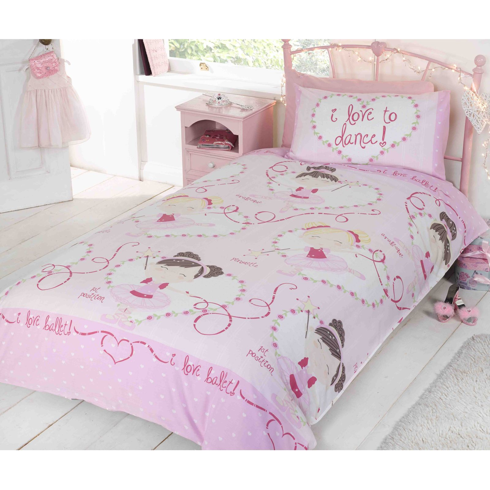 love to dance ballerine set housse de couette simple ballet literie ebay. Black Bedroom Furniture Sets. Home Design Ideas