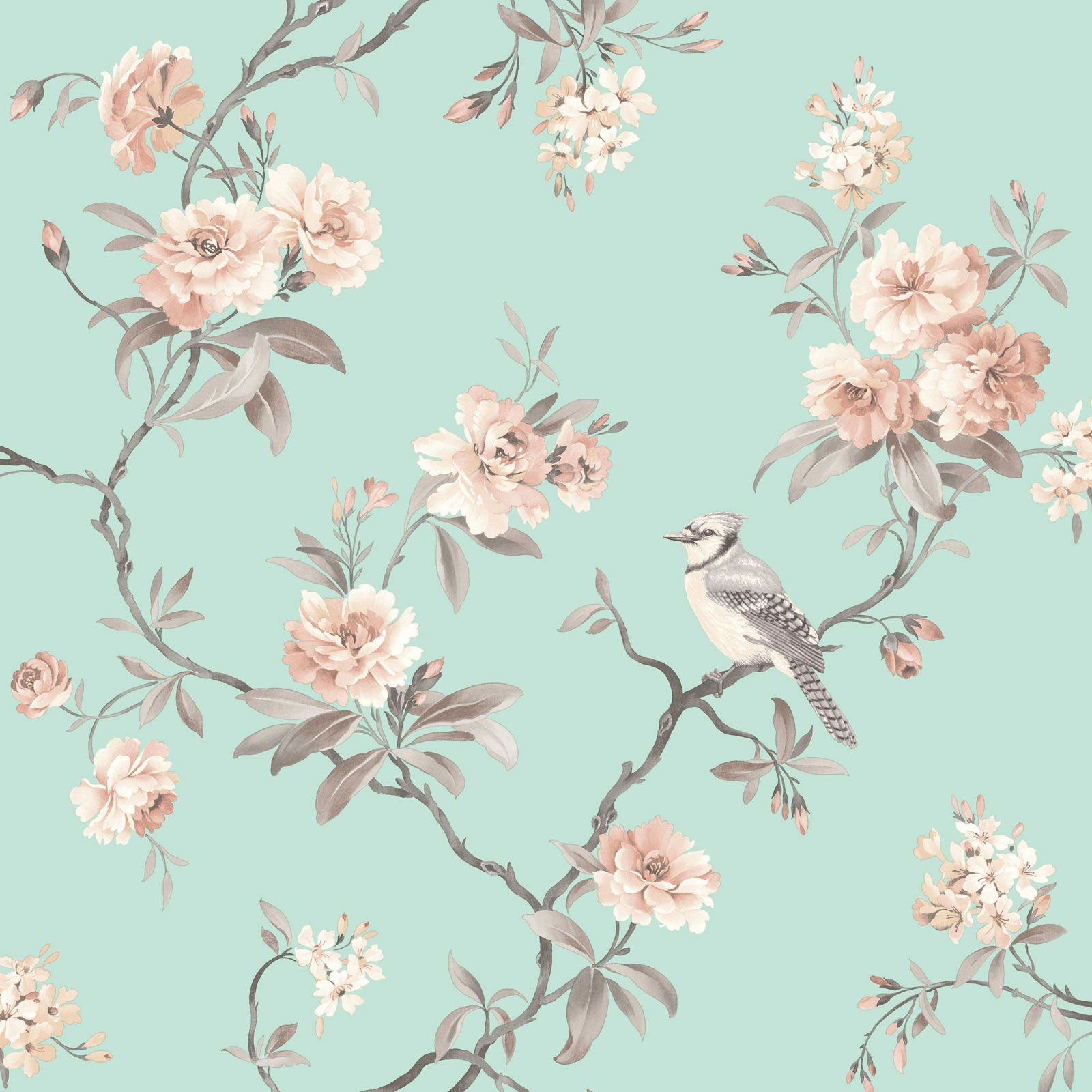 Wallpaper Designs With Birds : Fine d?cor teal duck egg wallpaper shabby chic owl