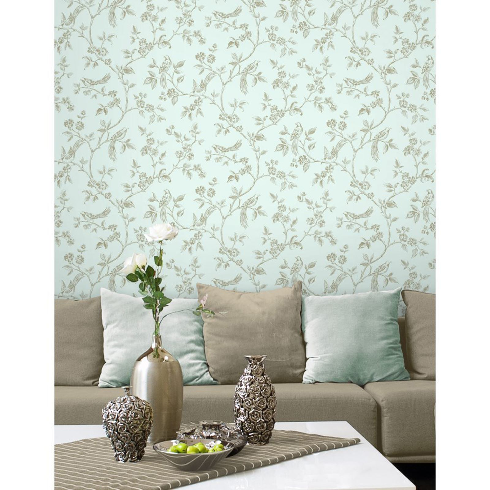 Fine D Cor Teal Duck Egg Wallpaper Shabby Chic Owl Peacock Scroll Tree Ebay