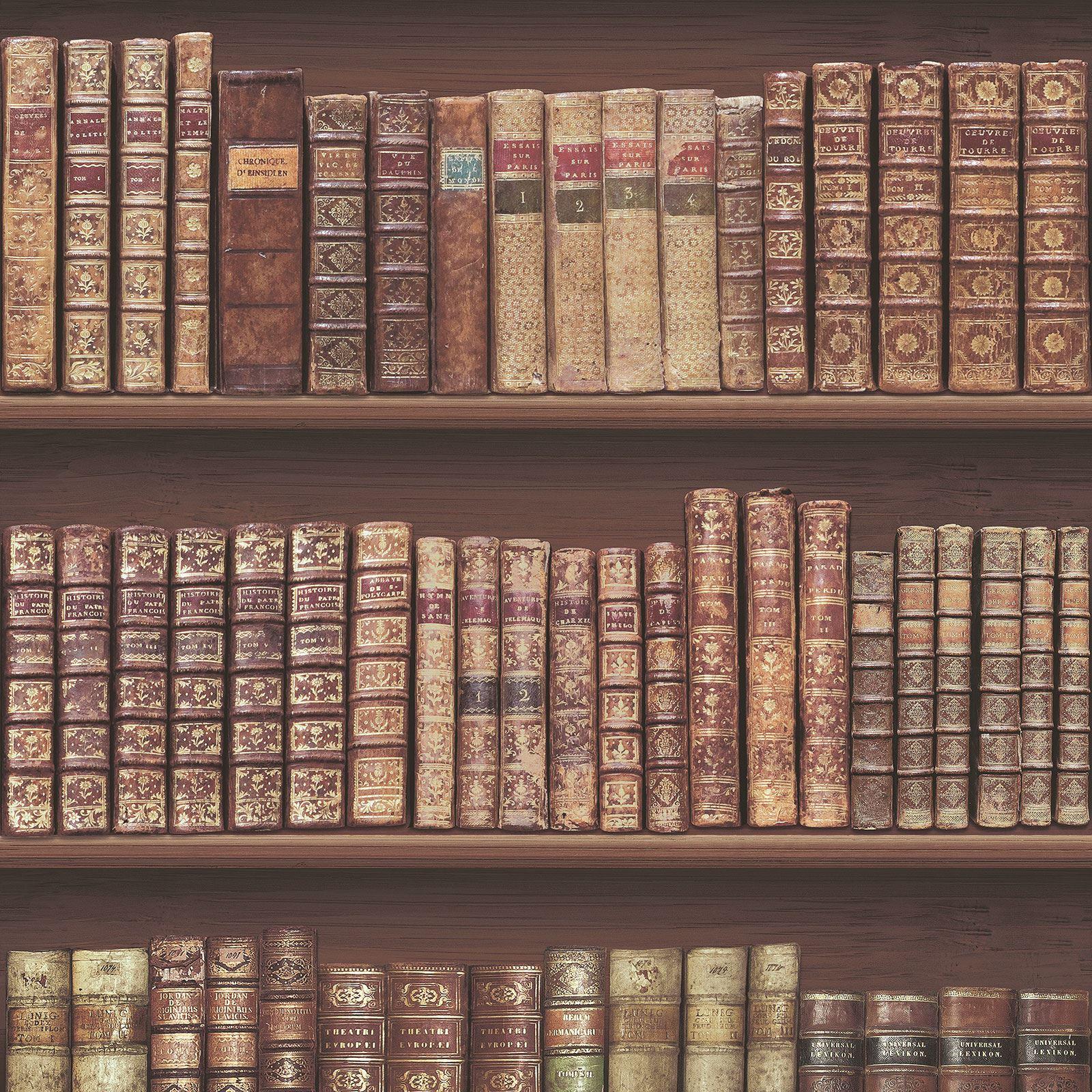 Antico libreria carta da parati rolls marrone dorato for Carta da parati libri