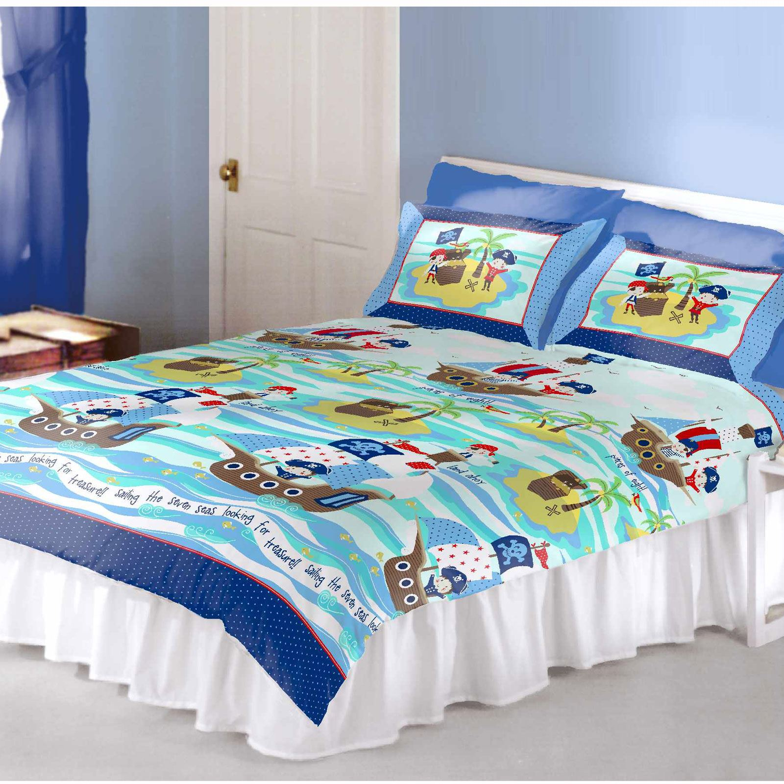 Kids' quilts often come as part of a set with matching bedding to create a cohesive look. A four-piece set may include the quilt, two shams, and a decorative pillow. A three-piece set has one quilt and two shams, while a five-piece set comes with two decorative pillows, two shams, and a quilt.