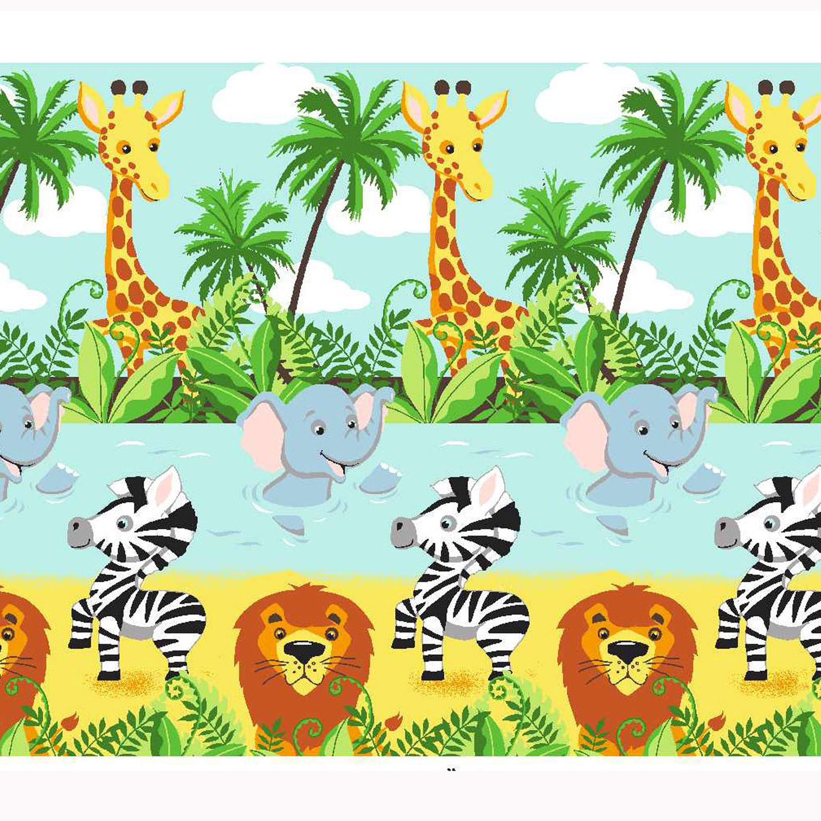 "... JUNGLE-TASTIC 66"" x 54"" LINED CURTAINS WITH TIE-BACKS LION ELEPHANT"