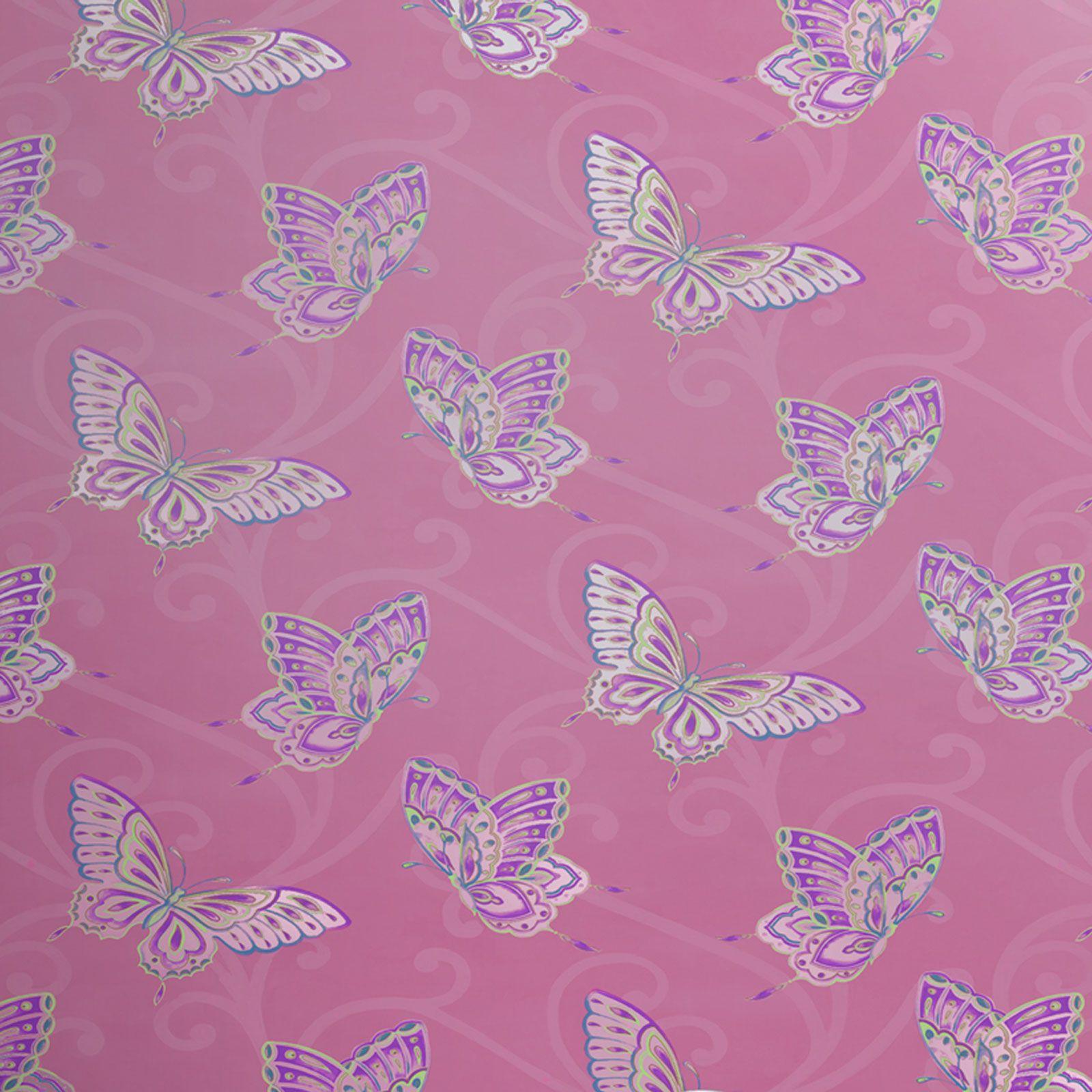 Camera da letto bambina farfalla carta parati colore rosa,bianco ...