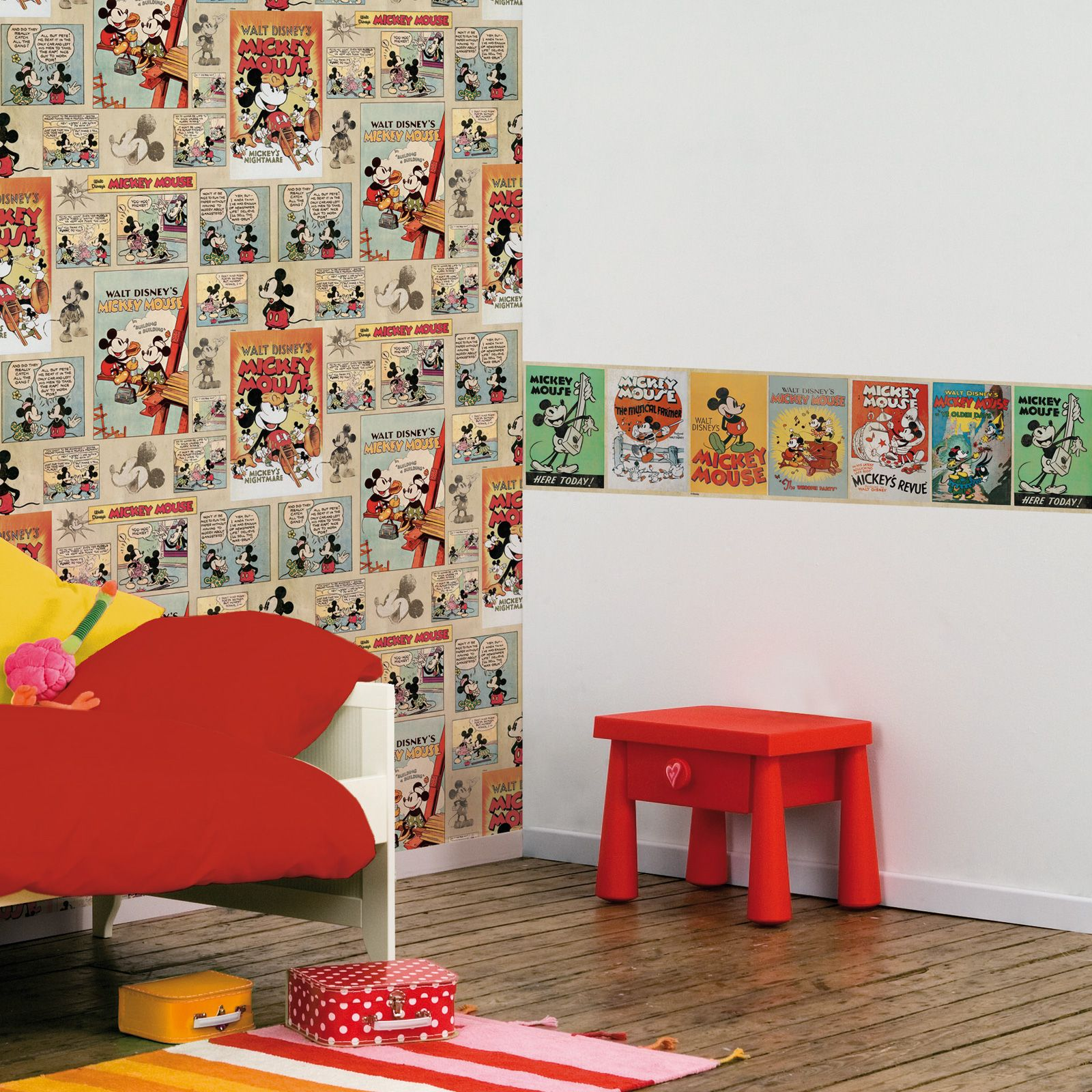 DISNEY MICKEY & MINNIE MOUSE WALLPAPERS AND BORDERS KIDS
