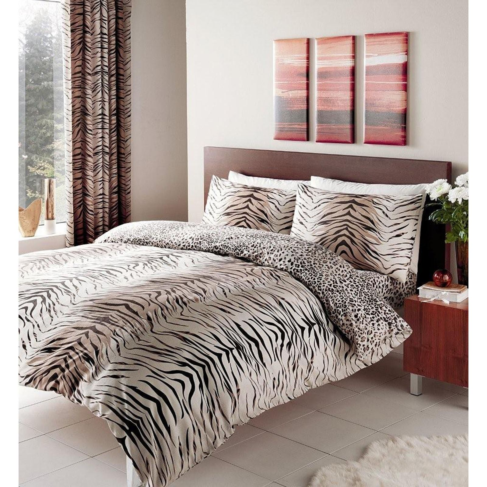 tiger leoparden druck reversible bettw sche sets in einzel doppel king size ebay. Black Bedroom Furniture Sets. Home Design Ideas