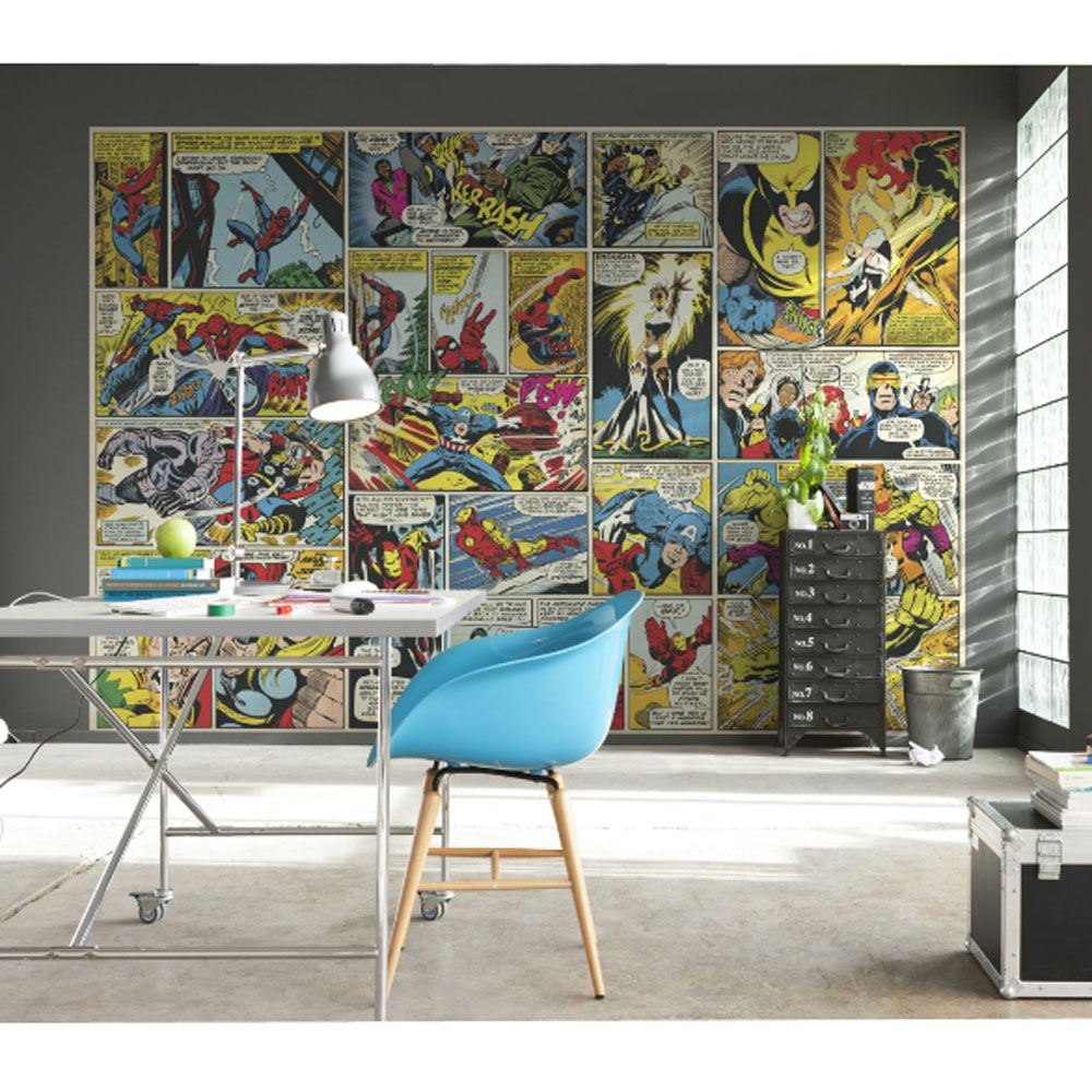 Superhero Bedroom Wallpaper Bedroom Accessories Bedroom Ideas Young Couple Bedroom Furniture Floor Plan: MARVEL COMICS AND AVENGERS WALLPAPER WALL MURALS DÉCOR BEDROOM