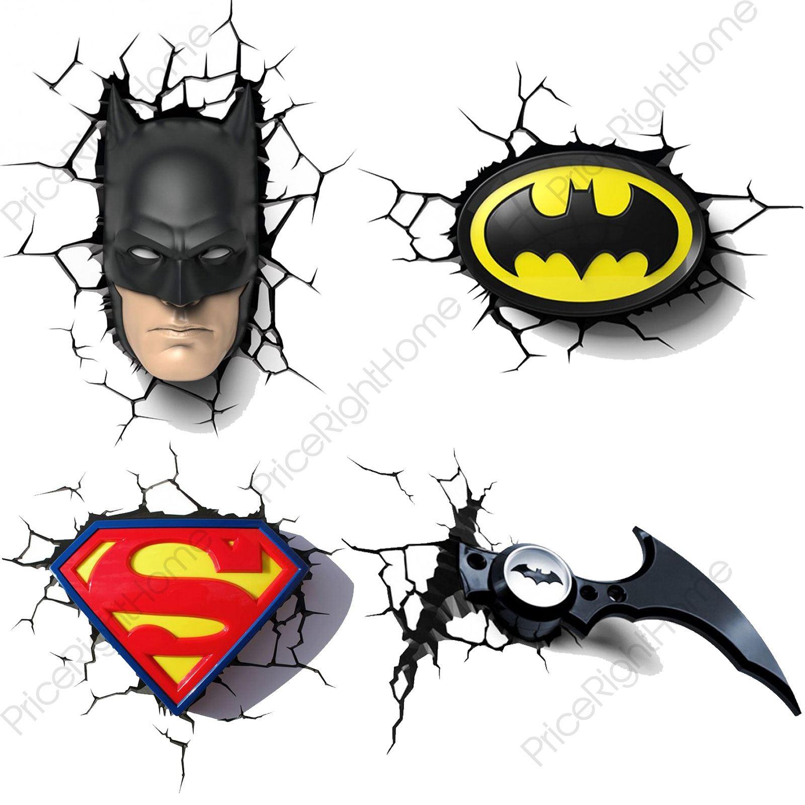 3d Wall Light Toys R Us : DC COMICS BATMAN & SUPERMAN 3D WALL LIGHTS NIGHTLIGHT BEDROOM LIGHTING FREE P+P eBay