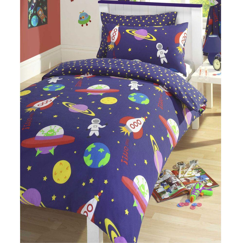 rocket astronaut space brushed cotton single duvet cover. Black Bedroom Furniture Sets. Home Design Ideas