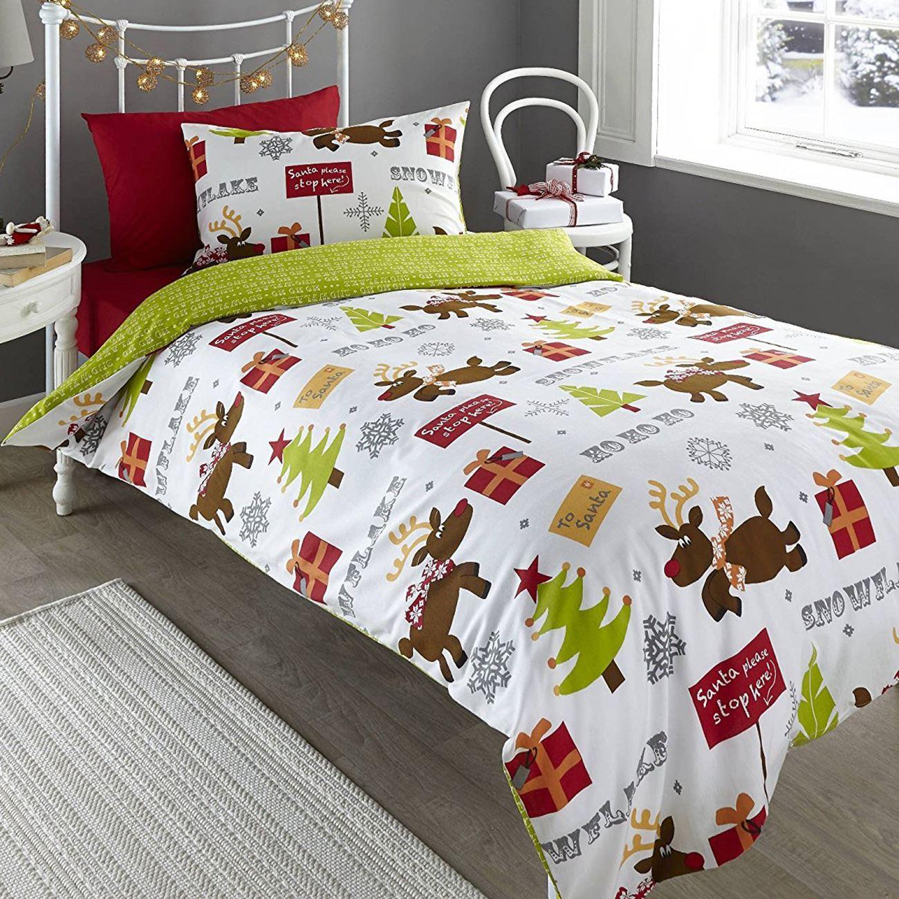 christmas duvet cover sets 100 brushed cotton flannalette. Black Bedroom Furniture Sets. Home Design Ideas