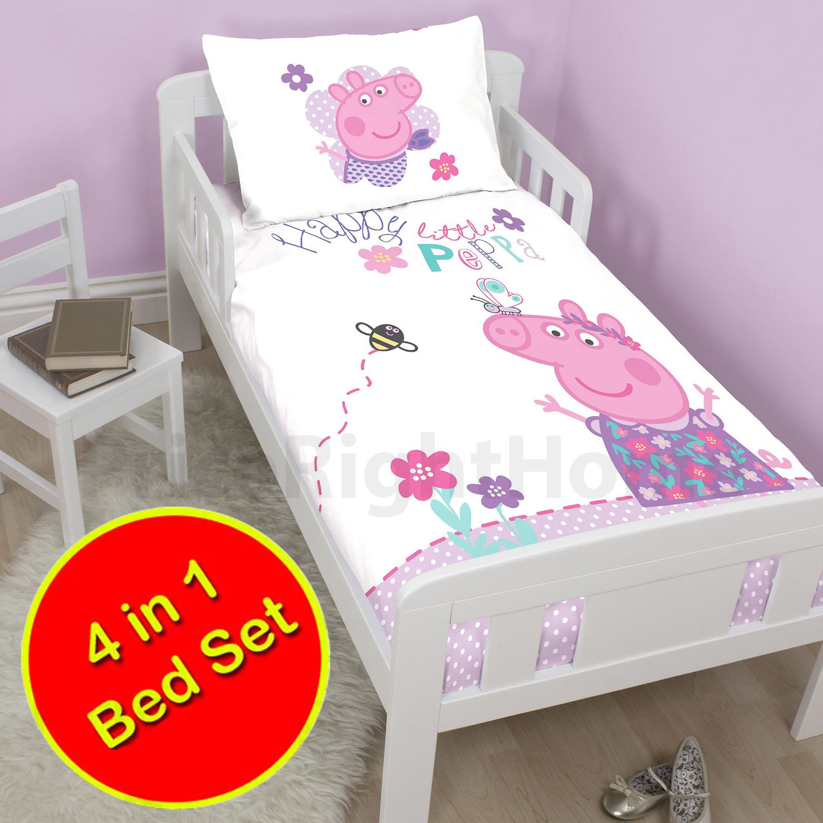 Peppa Pig Happy 4 In 1 Junior Bedding Bundle Cot Bed