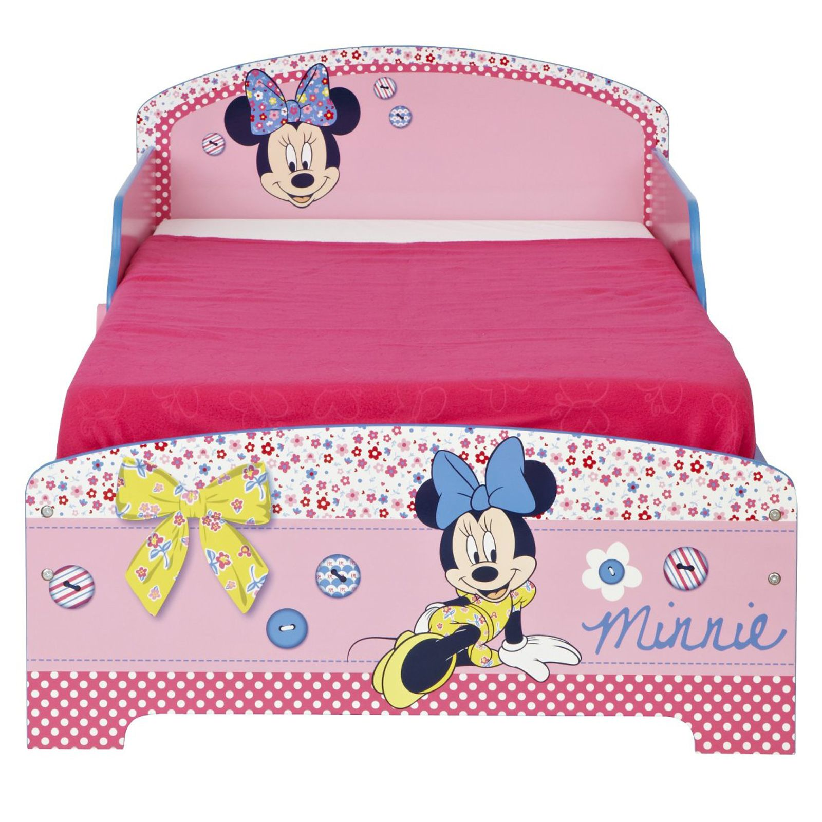 minnie mouse mdf lit enfant matelas 100 nouveaux officiel ebay. Black Bedroom Furniture Sets. Home Design Ideas