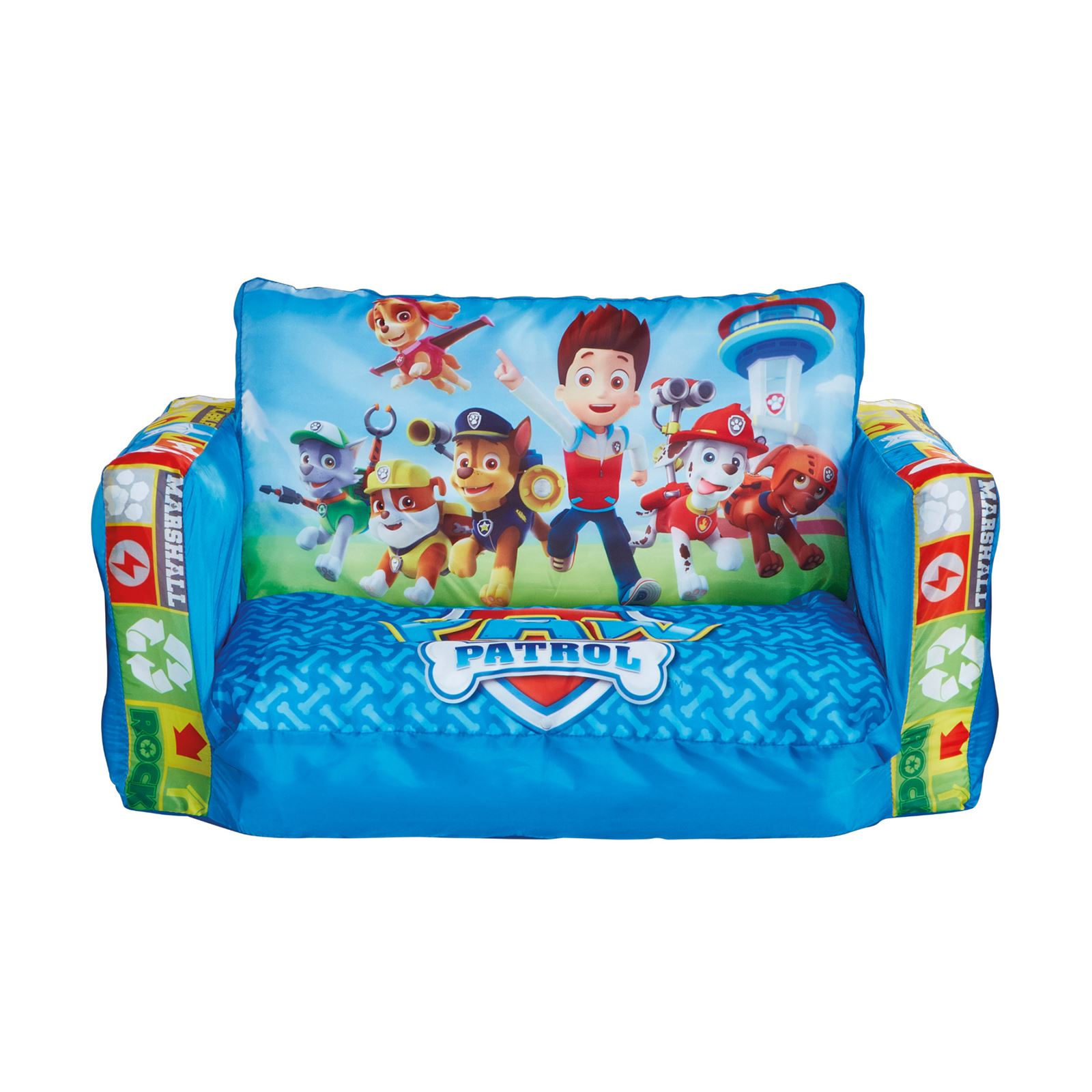 Paw patrol flip out sofa kids blue lounger seat extends for Fauteuil divan