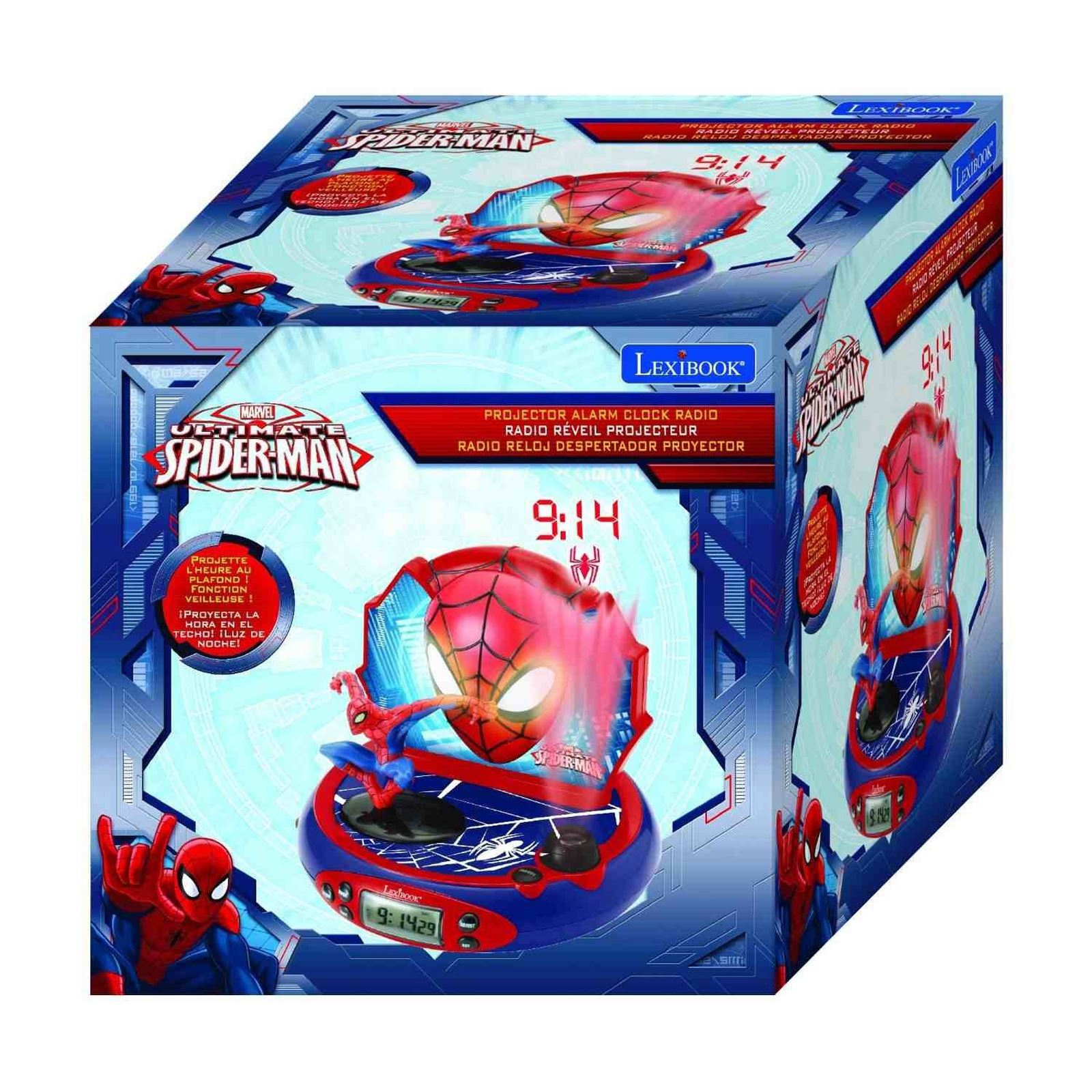 marvel ultimate spiderman projector alarm clock radio new by lexibook kids ebay. Black Bedroom Furniture Sets. Home Design Ideas