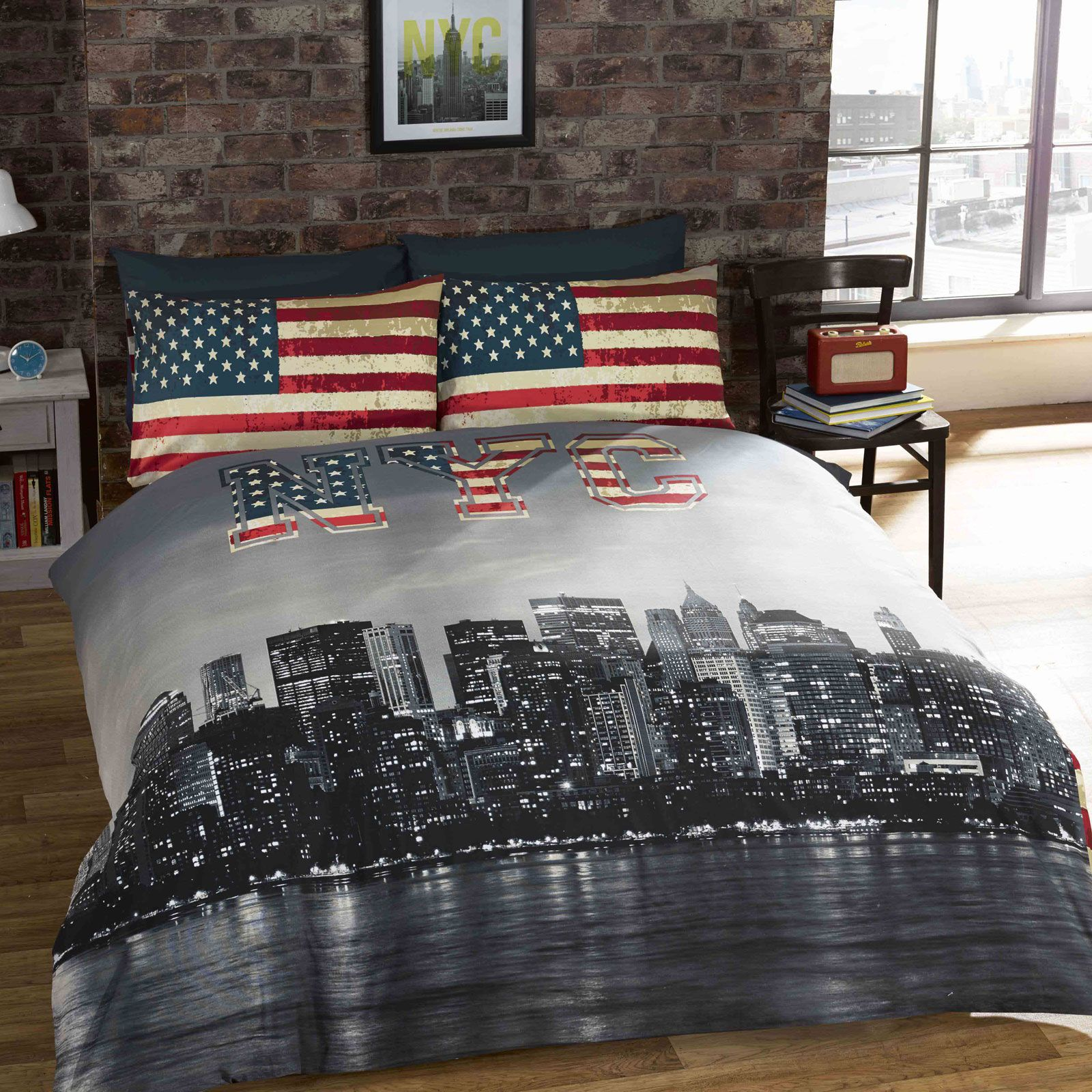 new york city bedding single duvet cover sets usa skyline landmarks bedroom ebay. Black Bedroom Furniture Sets. Home Design Ideas
