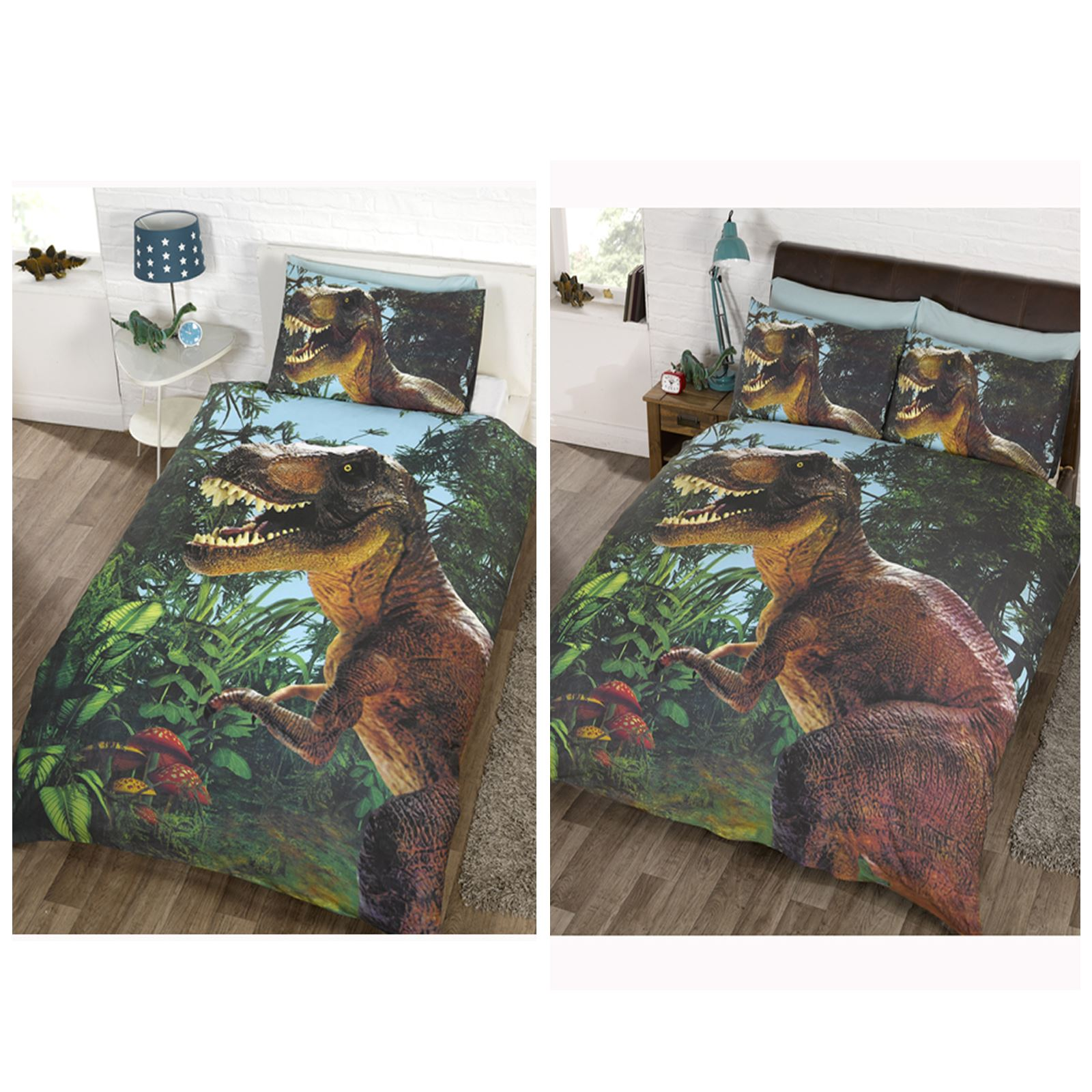 Jurassic t rex dinosaur duvet cover sets in single or for T rex bedroom decor