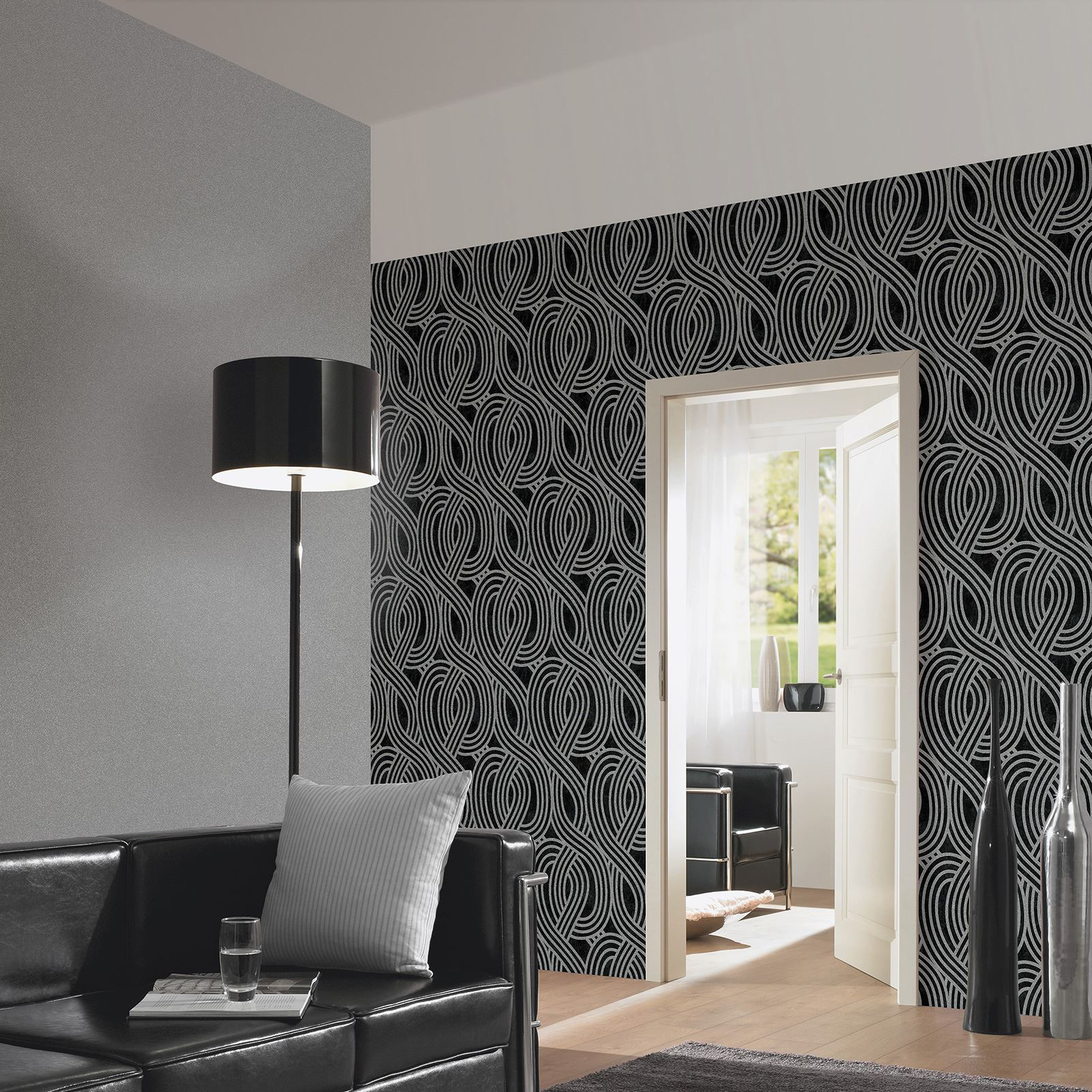 Carat glitter wallpaper dark silver 13348 60 bedroom for Wallpaper lounge feature wall